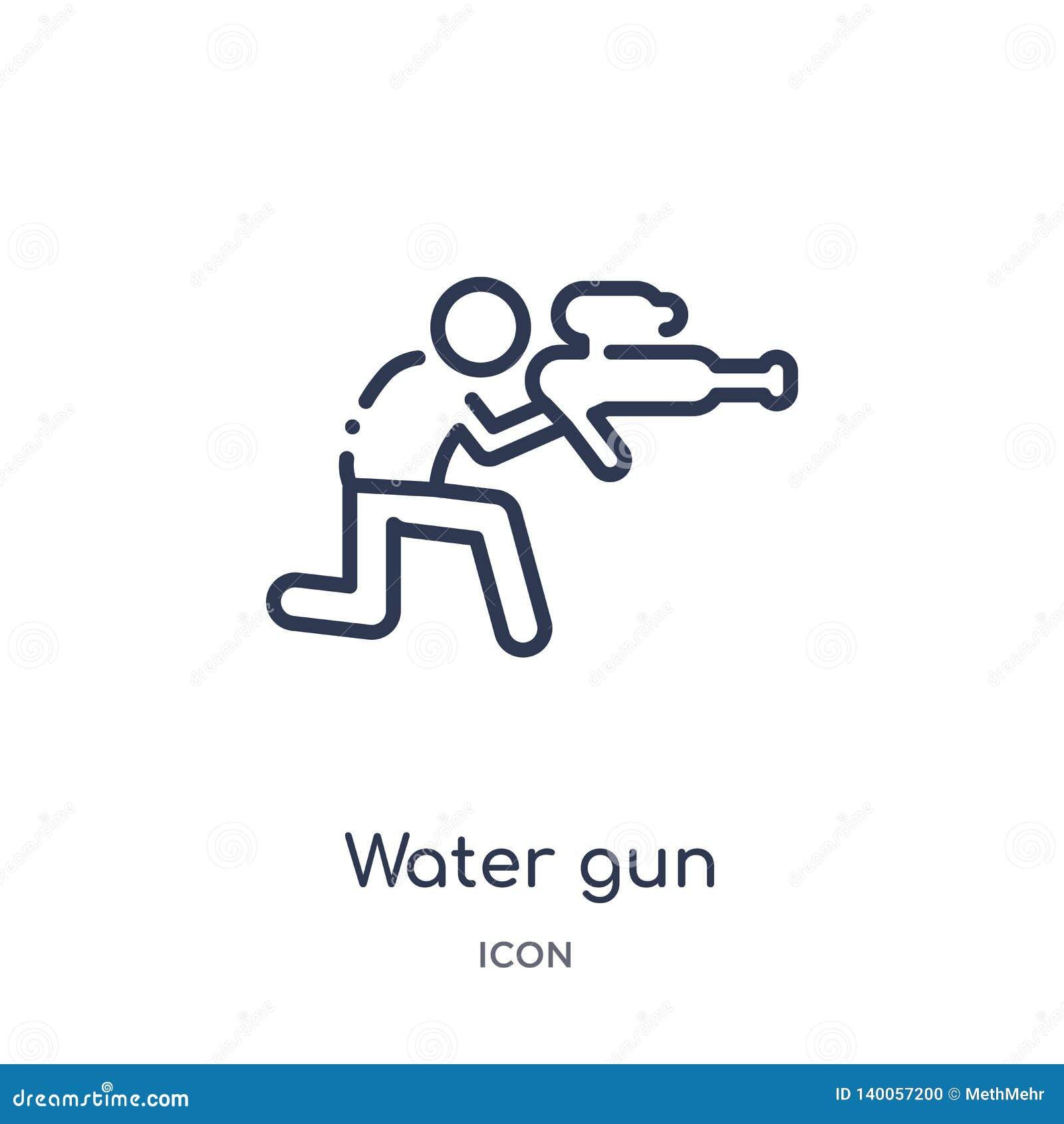 Ícone linear da arma de água da coleção do esboço do tempo livre Linha fina vetor da arma de água isolado no fundo branco arma de