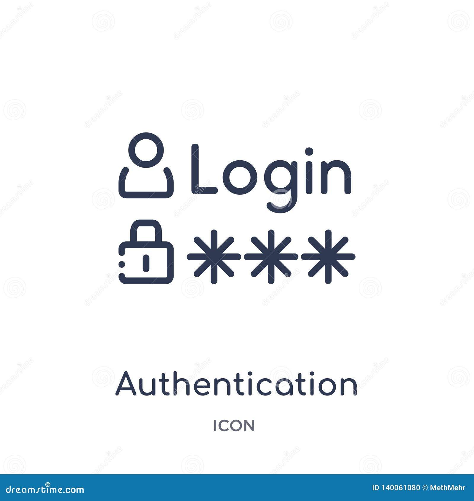 Ícone linear da autenticação da segurança do Internet e da coleção do esboço dos trabalhos em rede Linha fina ícone da autenticaç