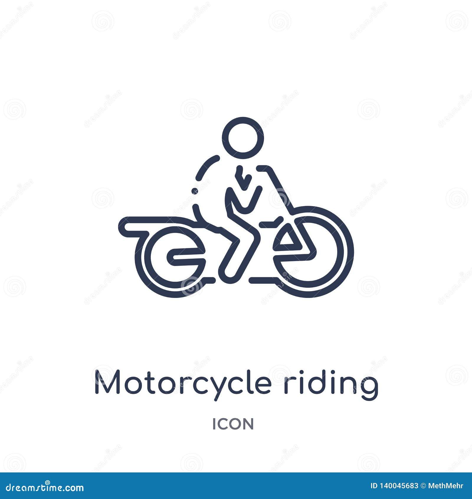 Ícone linear da equitação da motocicleta da coleção da atividade e do esboço dos passatempos Linha fina vetor da equitação da mot