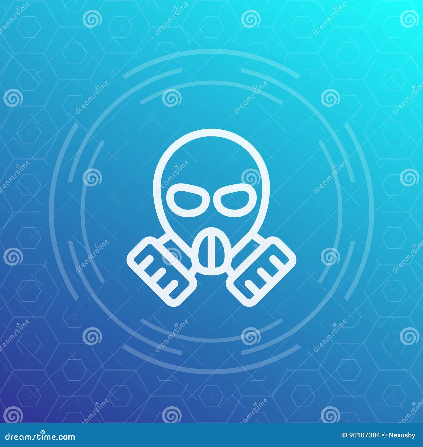 Ícone linear da máscara de gás