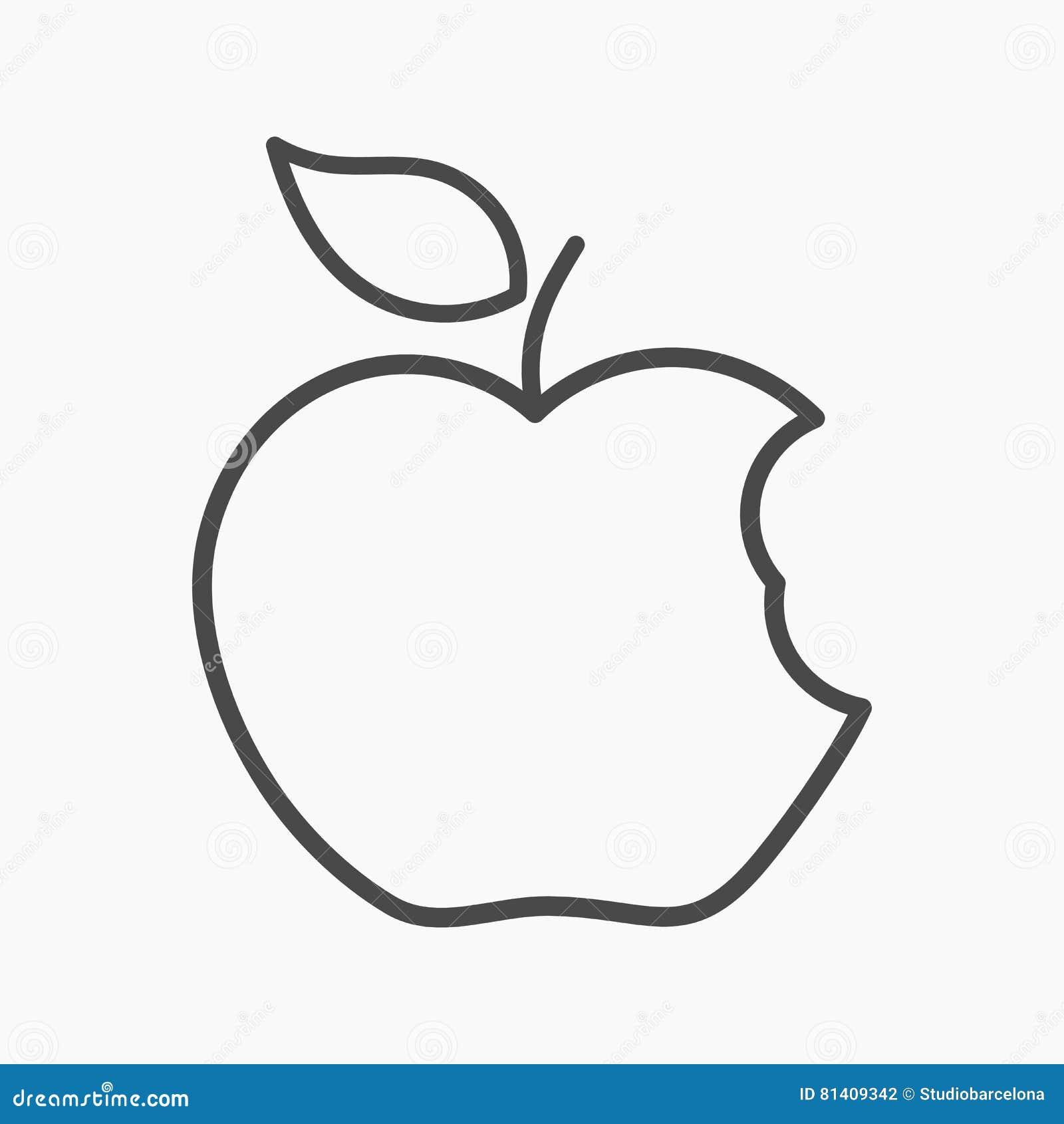 Ícone linear da maçã