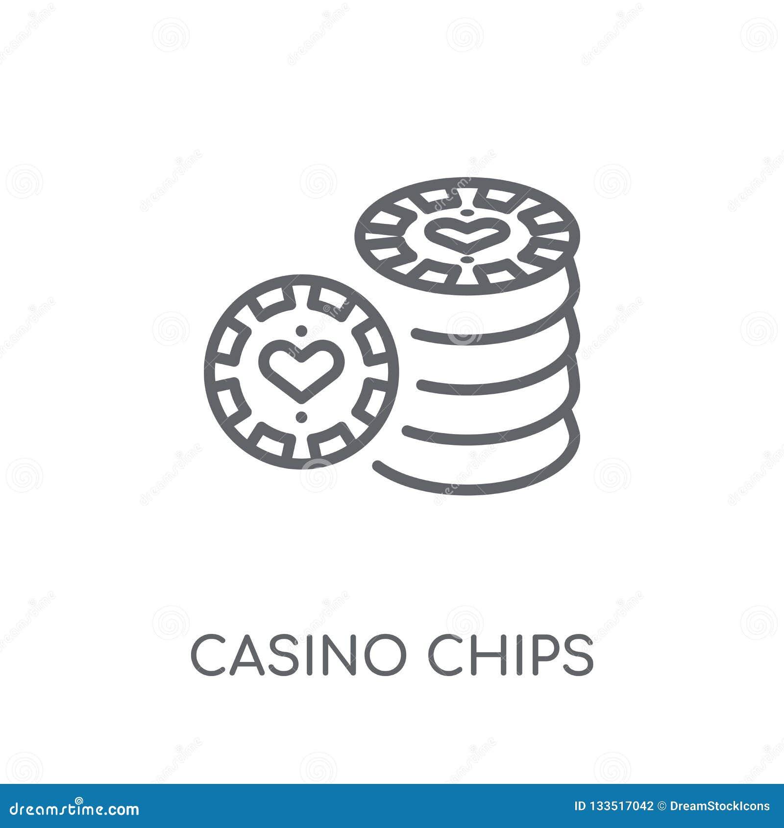 Ícone linear das microplaquetas do casino Conce moderno do logotipo das microplaquetas do casino do esboço