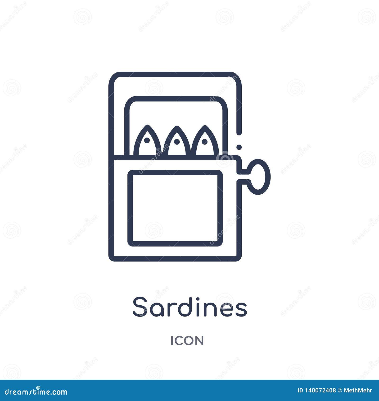 Ícone linear das sardinhas da coleção do esboço do alimento Linha fina ícone das sardinhas isolado no fundo branco sardinhas na m