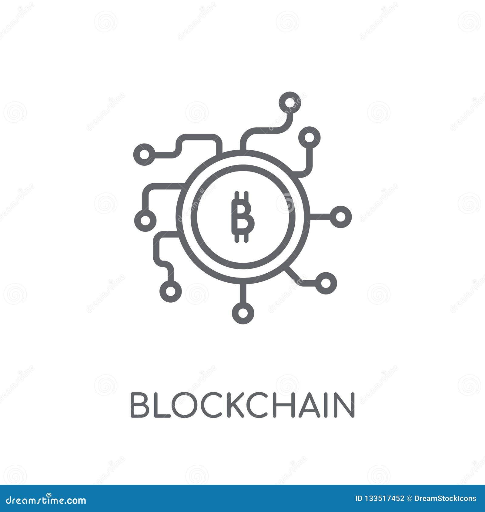 Ícone linear de Blockchain Conceito moderno o do logotipo de Blockchain do esboço
