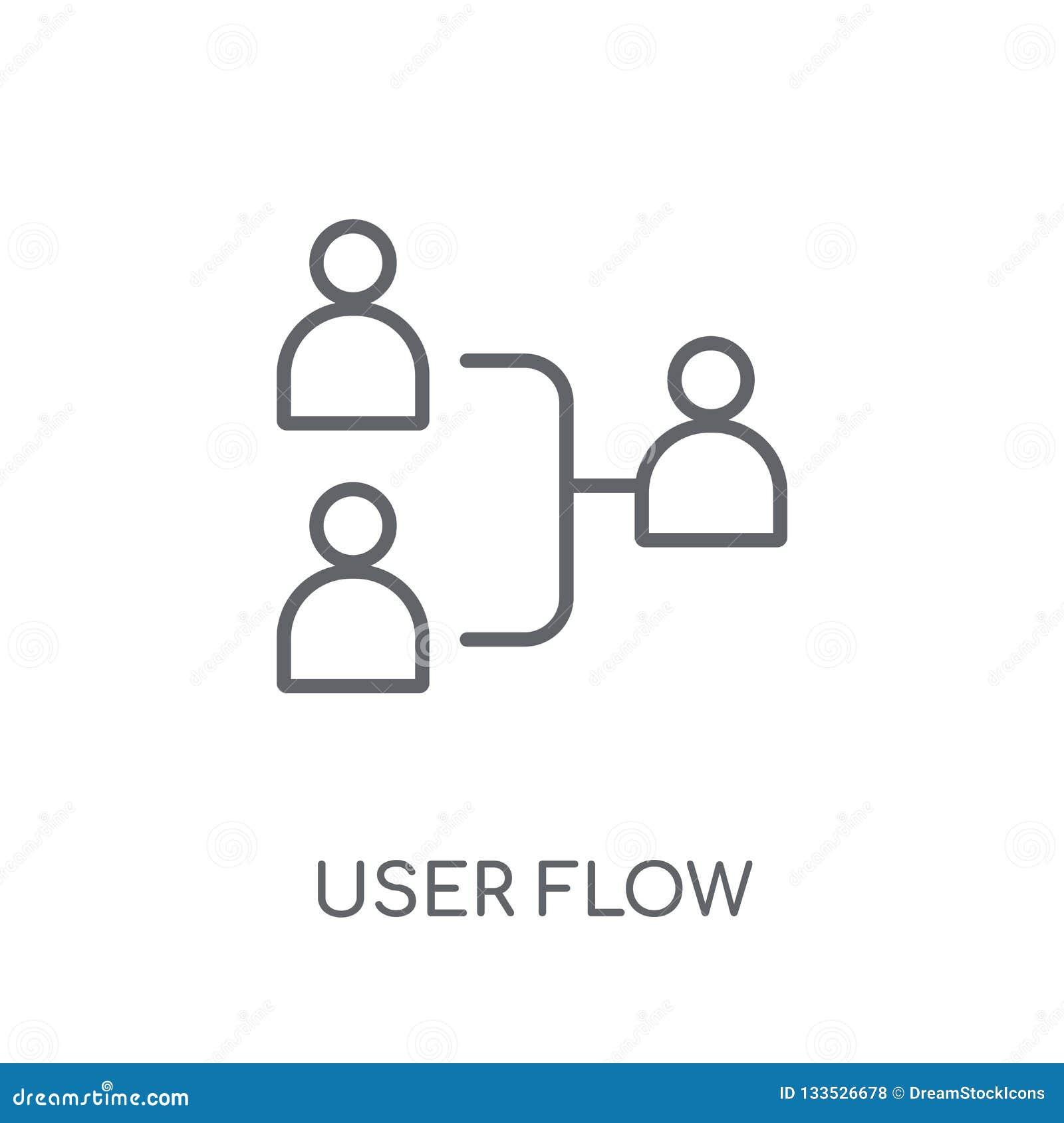 Ícone linear do fluxo do usuário Conceito moderno do logotipo do fluxo do usuário do esboço sobre