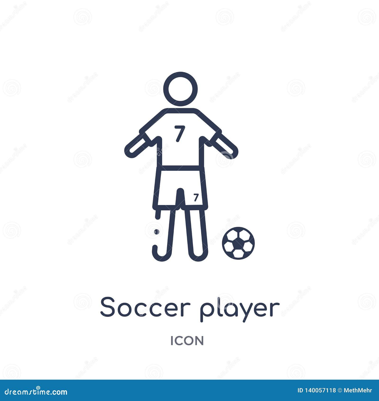 Ícone linear do jogador de futebol da coleção do esboço do futebol Linha fina vetor do jogador de futebol isolado no fundo branco