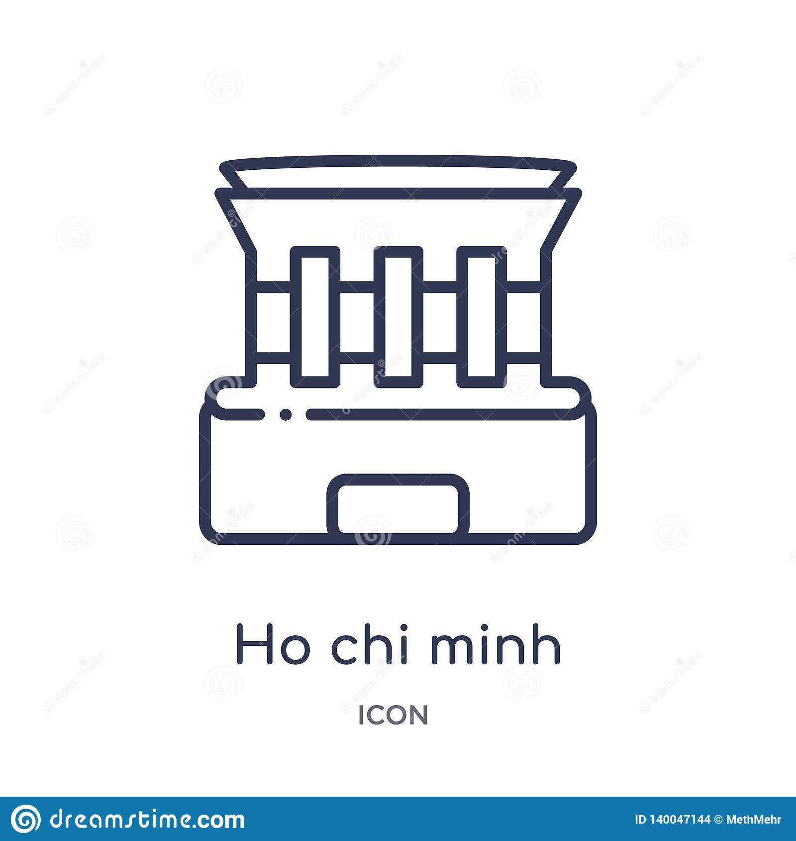 Ícone linear do mausoléu de Ho Chi Minh da arquitetura e da coleção do esboço do curso A linha fina vetor do mausoléu de Ho Chi M