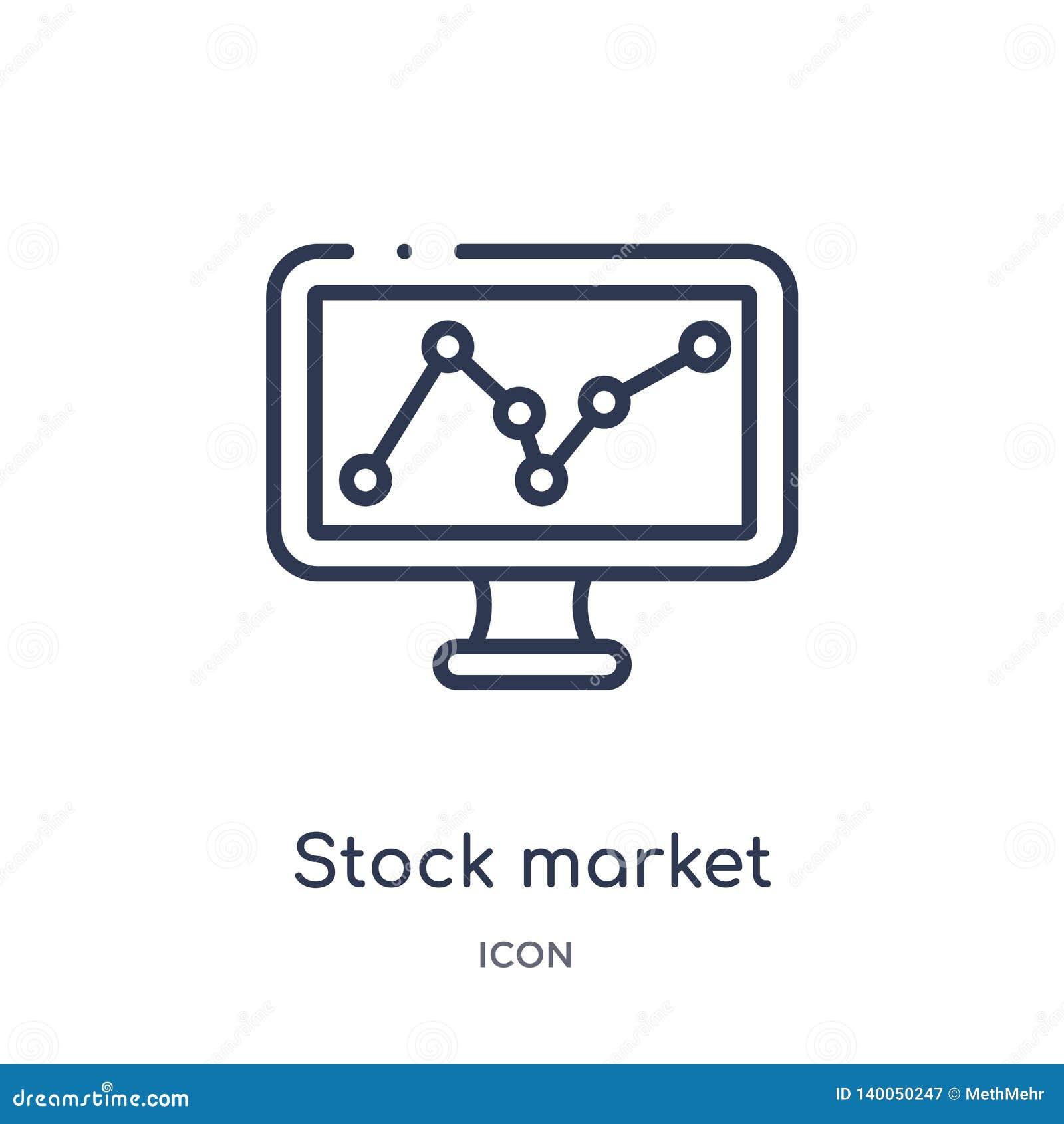 Ícone linear do mercado de valores de ação da coleção do esboço do negócio e da analítica Linha fina vetor do mercado de valores