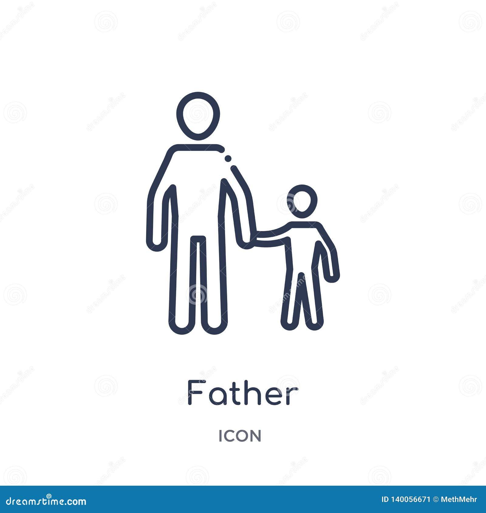 Ícone linear do pai da coleção do esboço das relações de família Linha fina vetor do pai isolado no fundo branco pai na moda