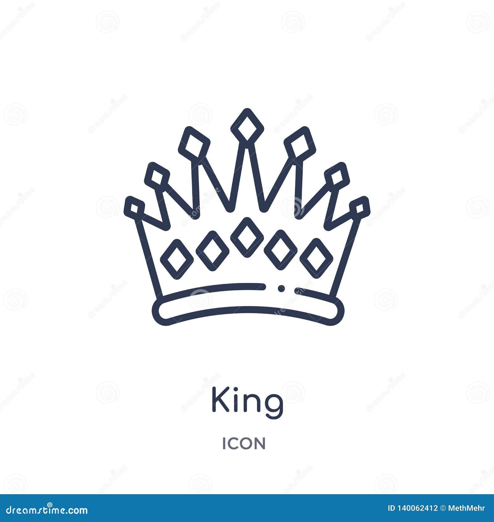 Ícone linear do rei da coleção luxuosa do esboço Linha fina ícone do rei isolado no fundo branco ilustração na moda do rei