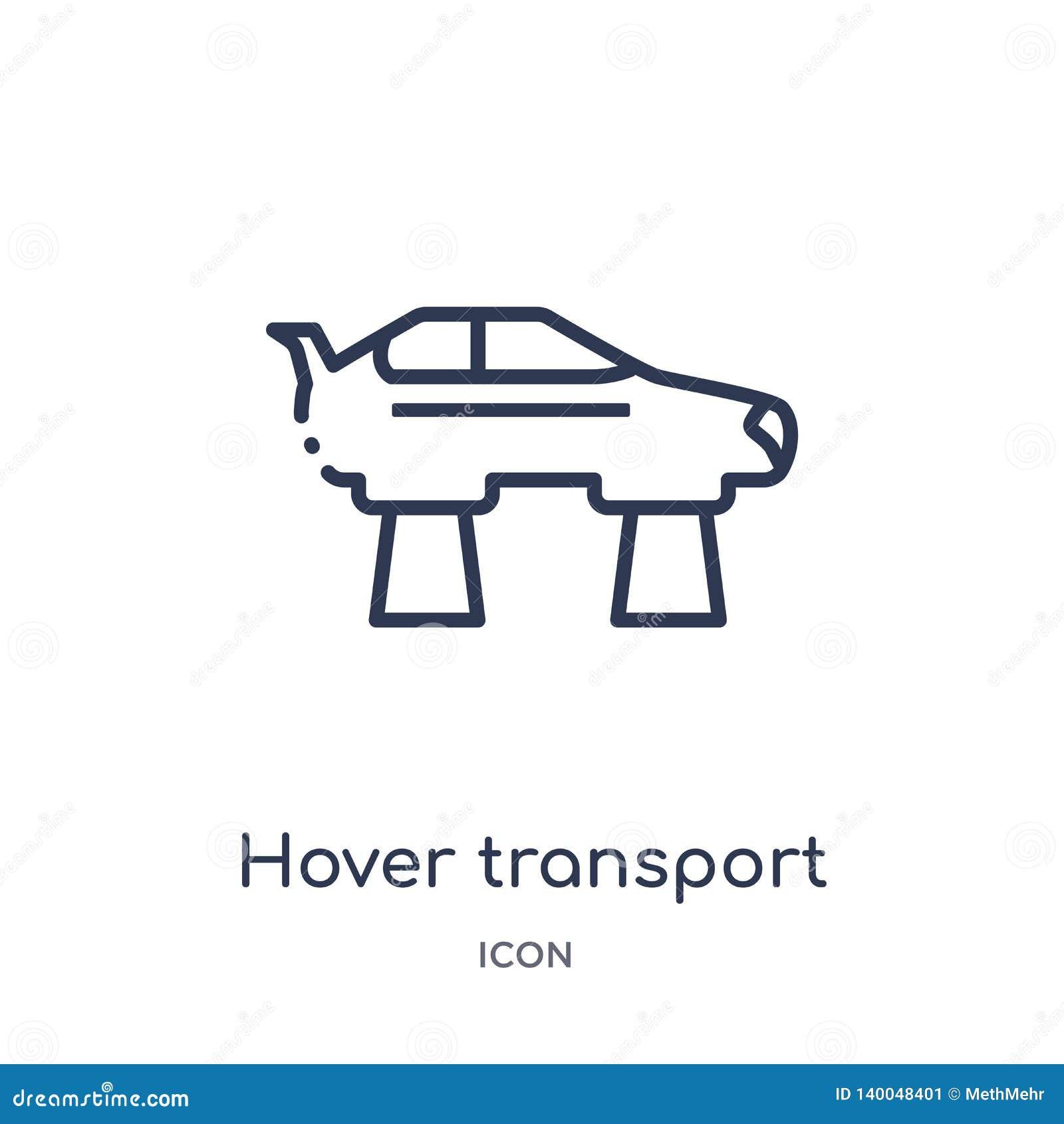 Ícone linear do transporte do pairo do intellegence artificial e da coleção futura do esboço da tecnologia Linha fina transporte