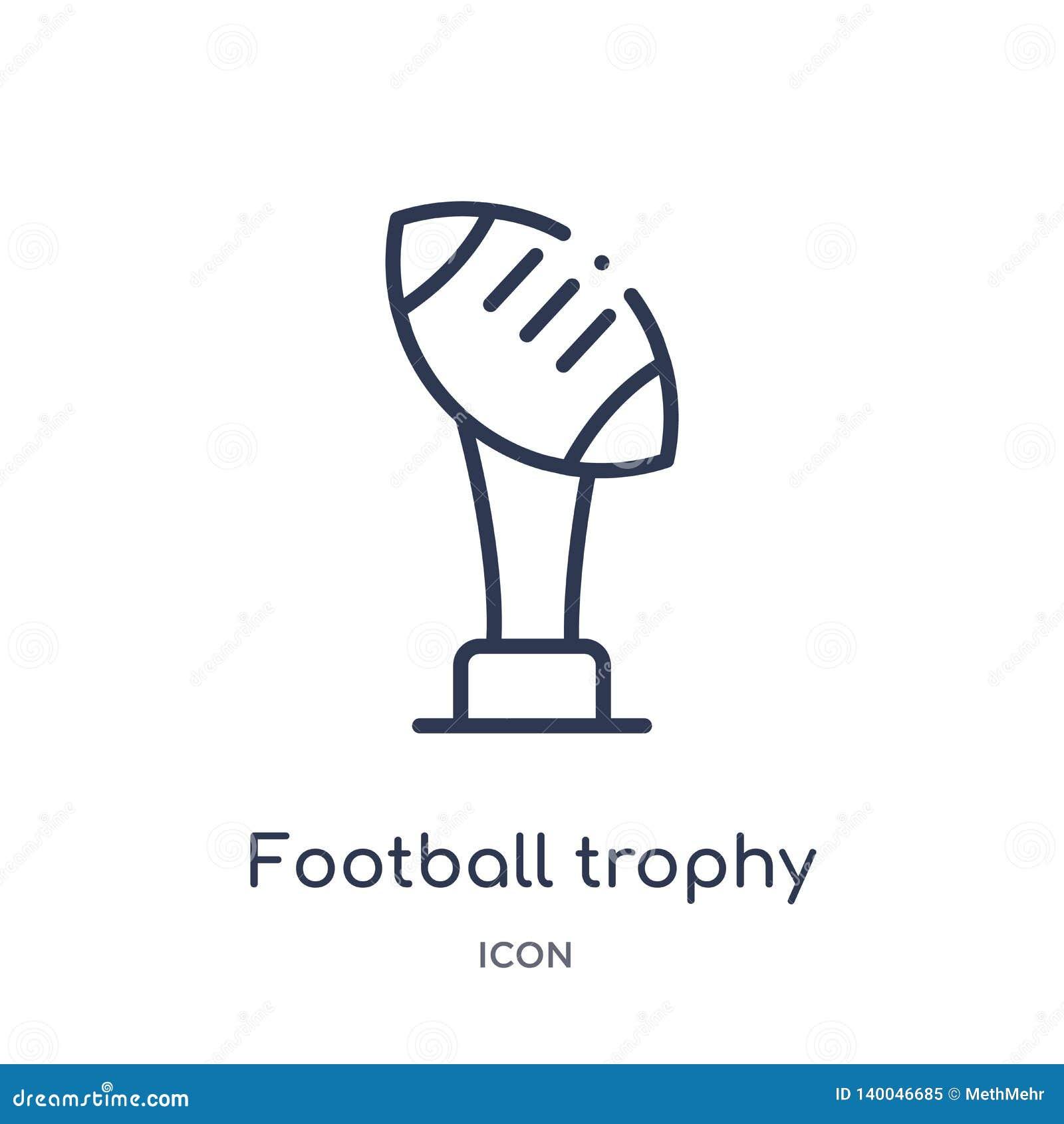 Ícone linear do troféu do futebol da coleção do esboço do futebol americano Linha fina vetor do troféu do futebol isolado no bran