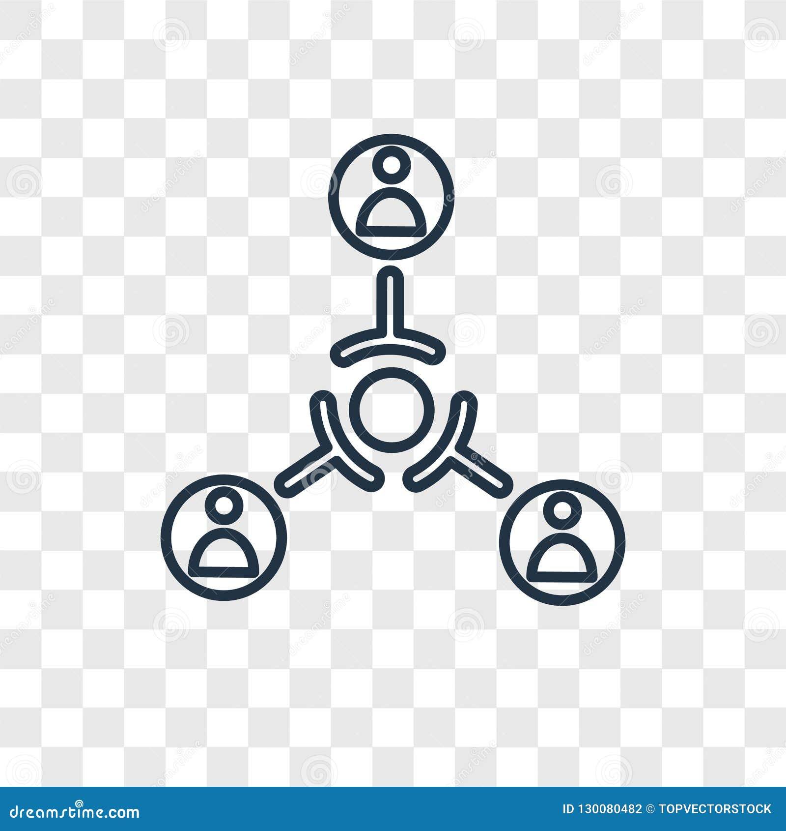 Ícone linear do vetor do conceito da estrutura hierárquica isolado no tr
