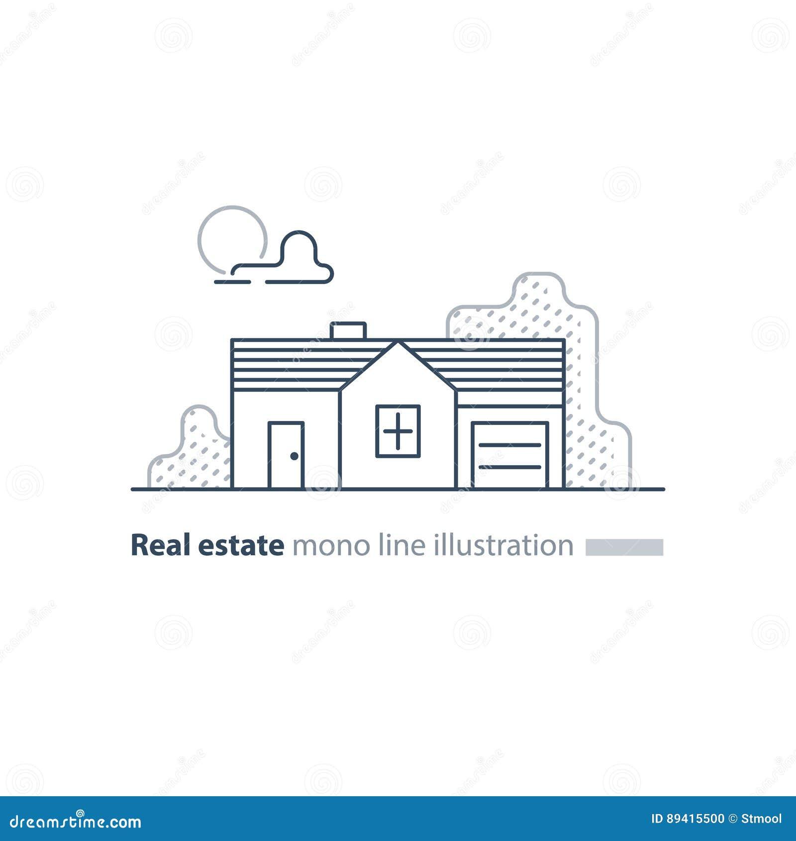 Ícone linear dos bens imobiliários, baixa propriedade de casa, conceito da vizinhança