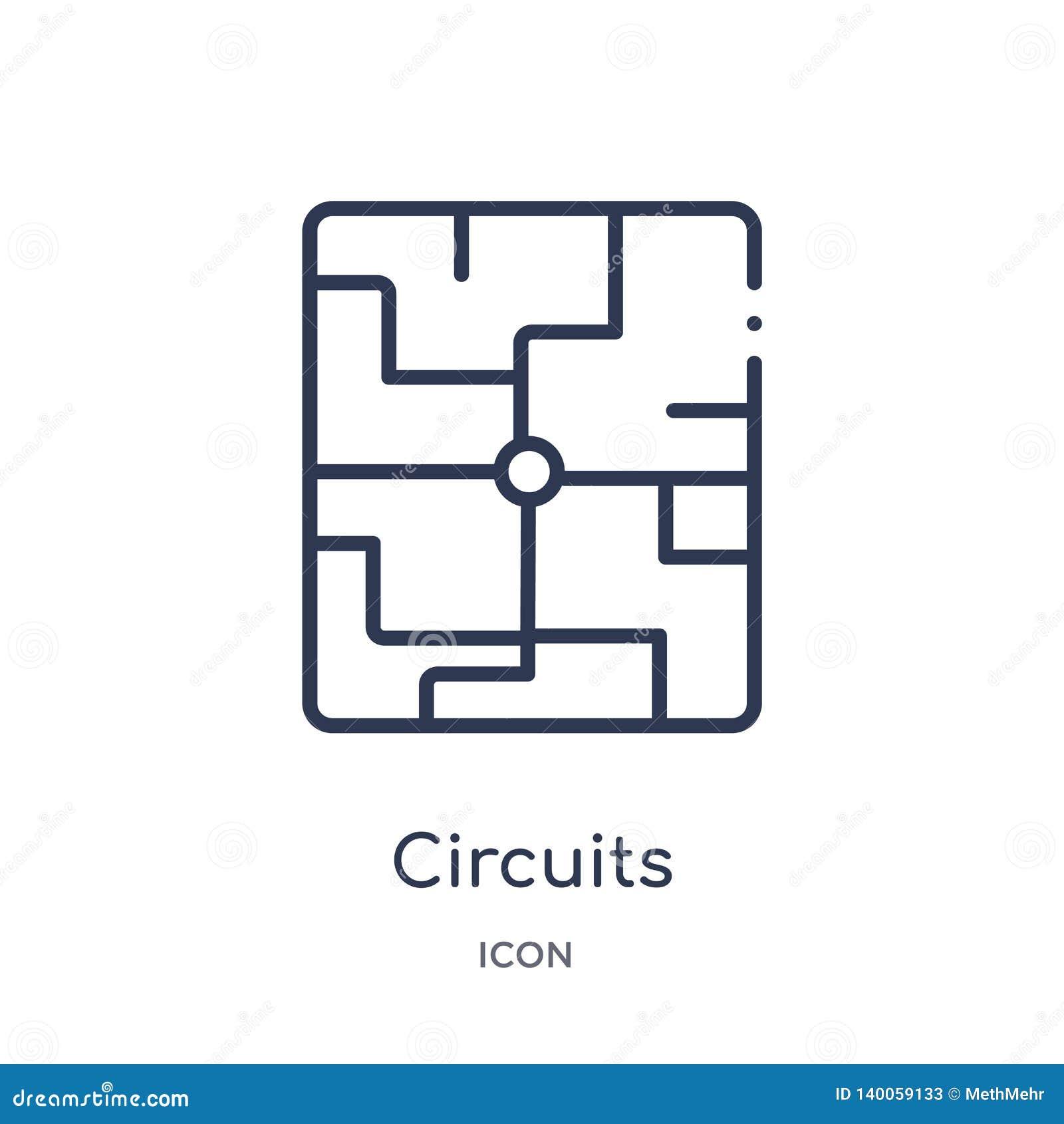 Ícone linear dos circuitos da coleção do esboço do hardware Linha fina ícone dos circuitos isolado no fundo branco circuitos na m