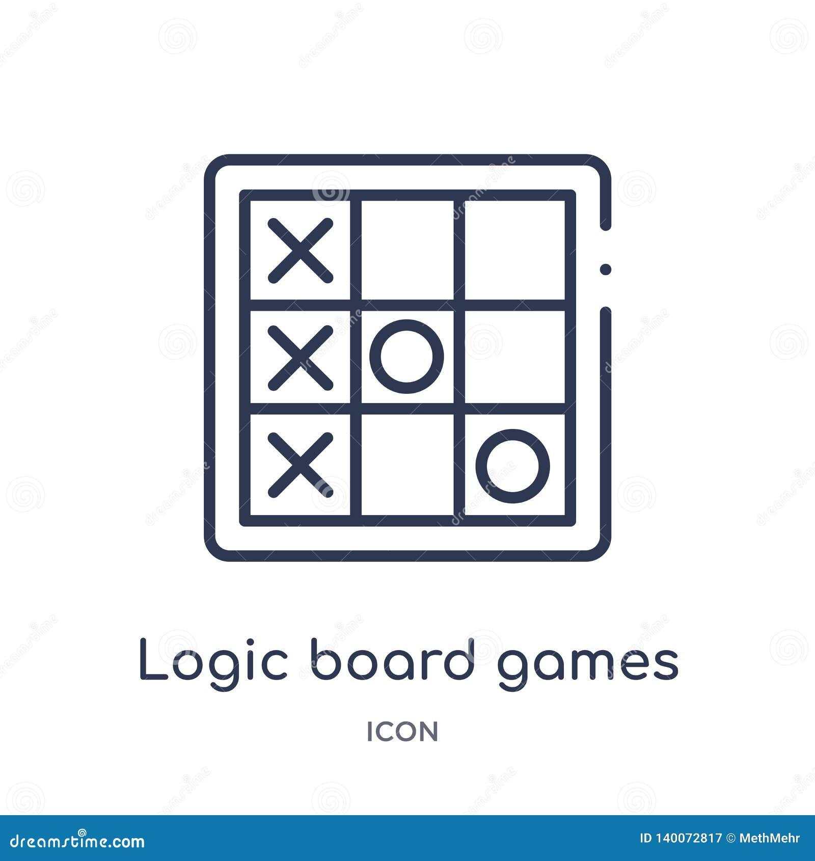 Ícone linear dos jogos de mesa da lógica da coleção do esboço do entretenimento Linha fina ícone dos jogos de mesa da lógica isol