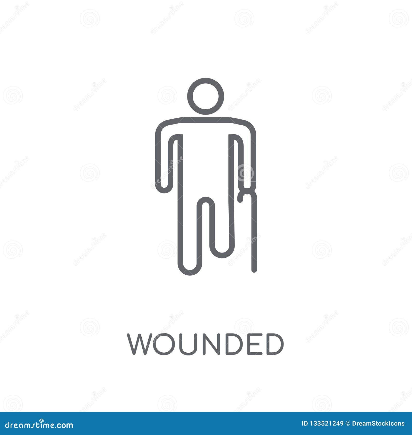 Ícone linear ferido Conceito ferido do logotipo do esboço moderno no whit