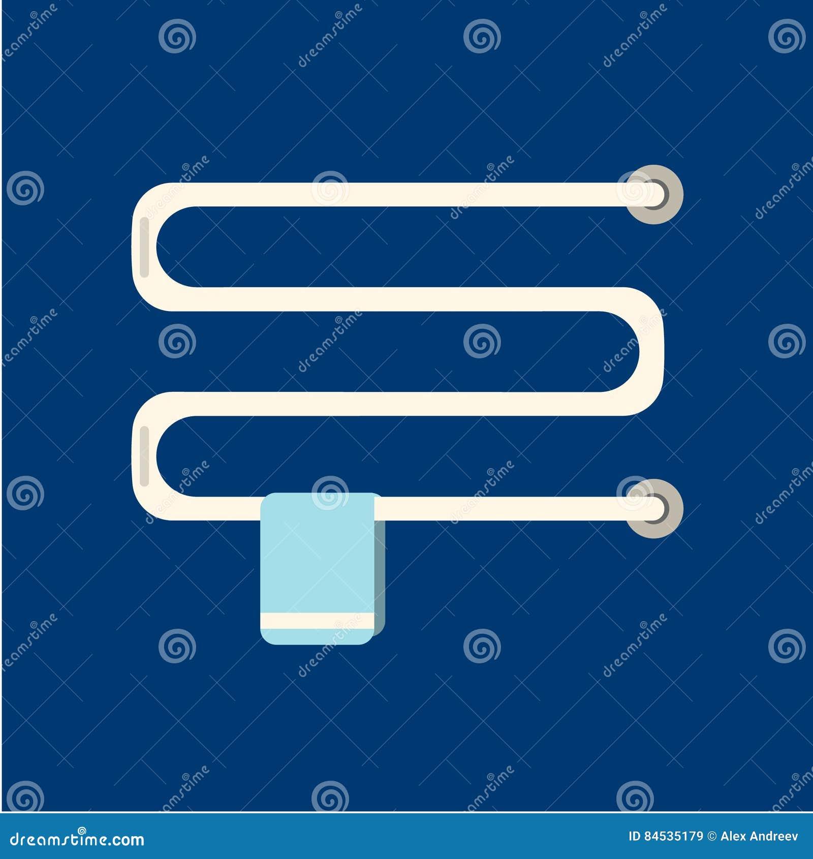 Ícone liso caloroso do trilho de toalha no fundo azul Illustrat do vetor