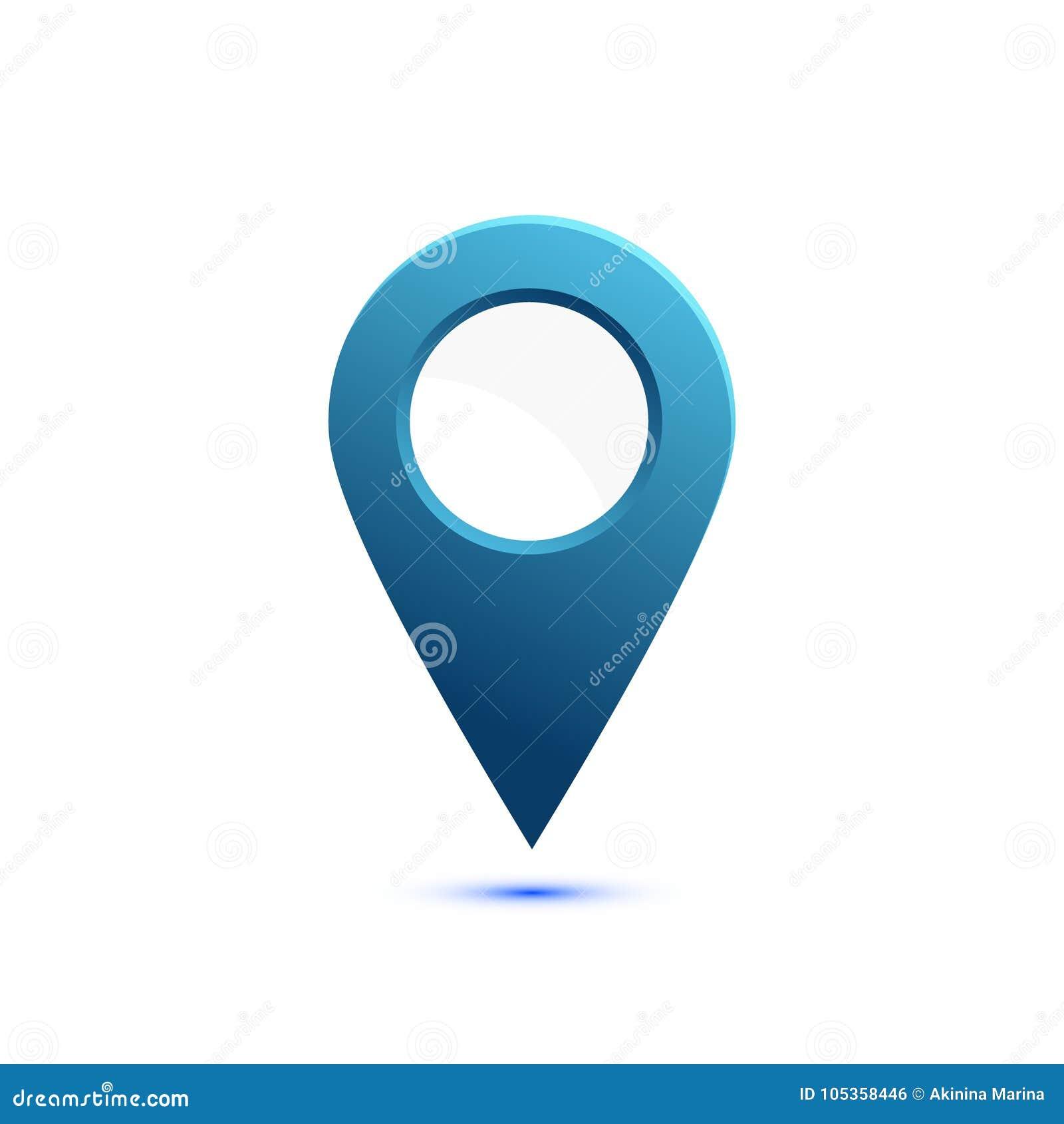 Ícone liso colorido, projeto do vetor com sombra Ponteiro do mapa com círculo branco para o texto Marcador simples