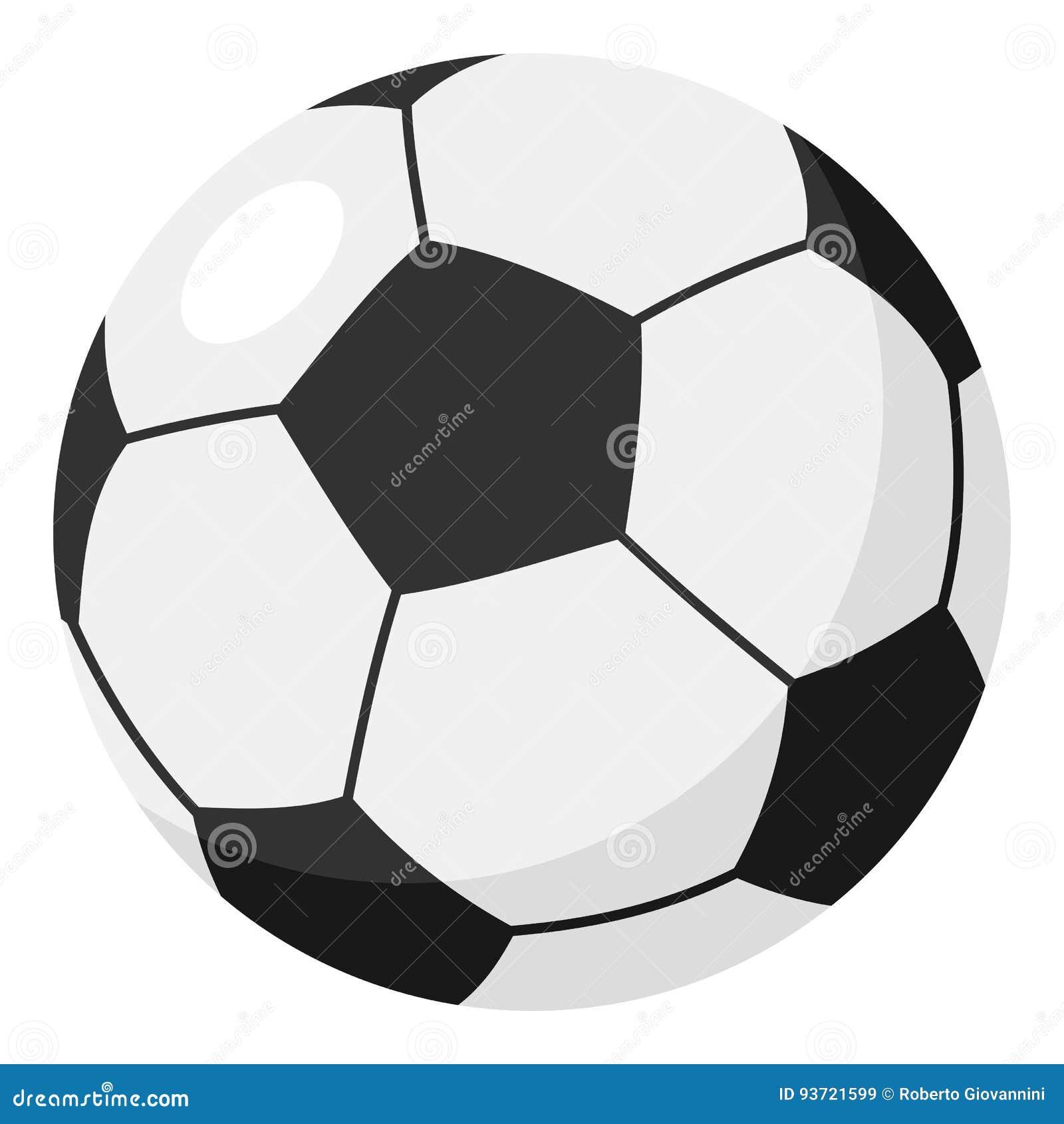 Ícone liso da bola do futebol ou de futebol no branco