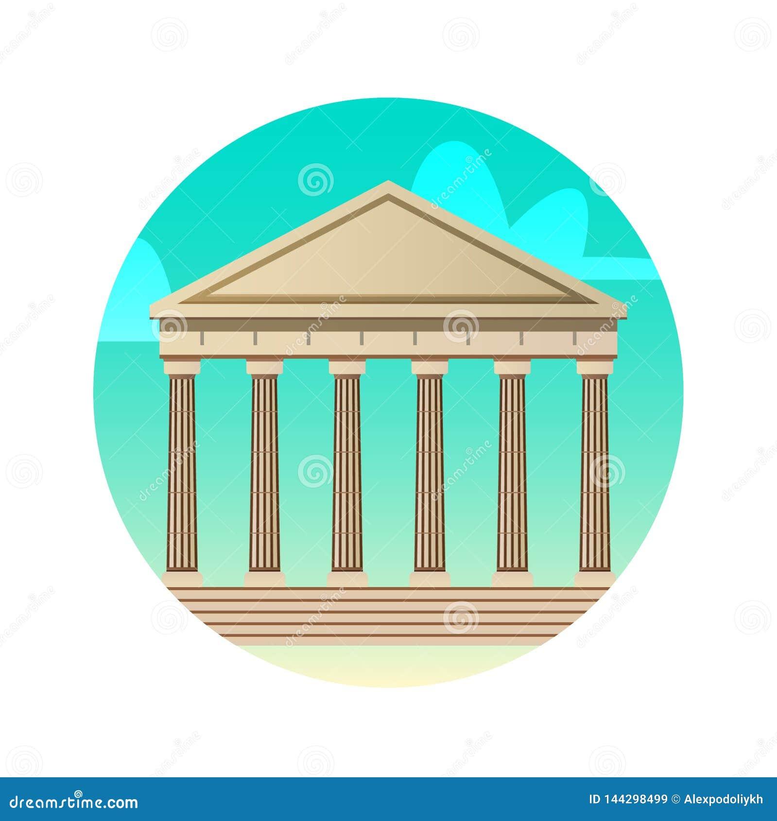 Ícone liso da cor do Partenon da arquitetura Vistas históricas de Grécia, Atenas