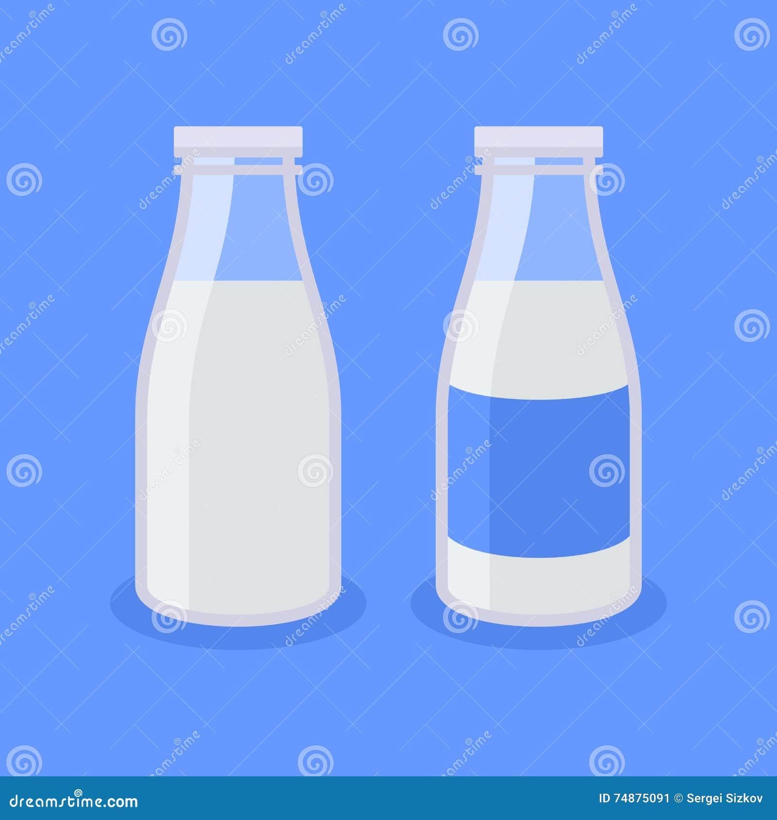 Ícone liso da garrafa de leite do estilo no fundo azul Vetor