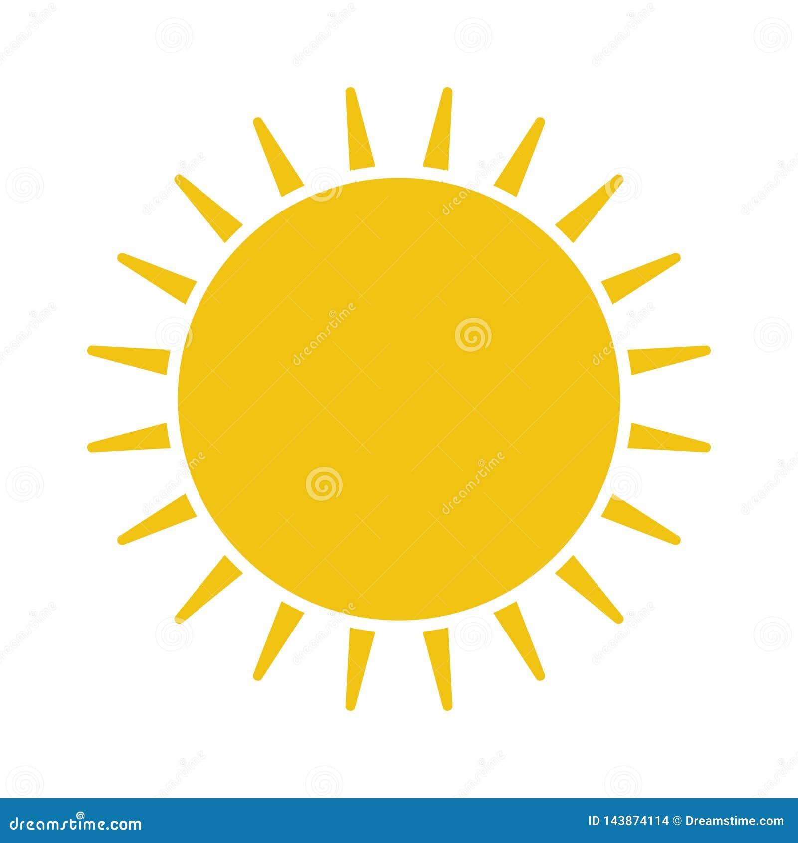 Ícone liso de Sun Pictograma de Sun ilustração do vetor do molde