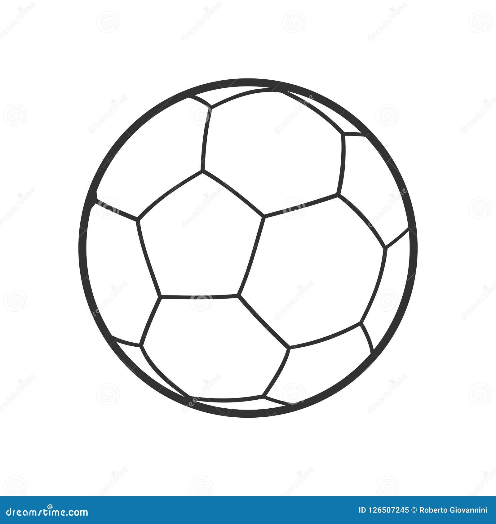 Ícone liso do esboço da bola de Futsal no branco