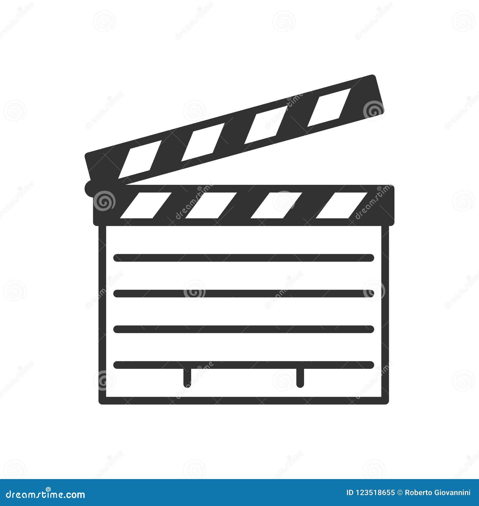 Ícone liso do esboço da ripa do filme no branco