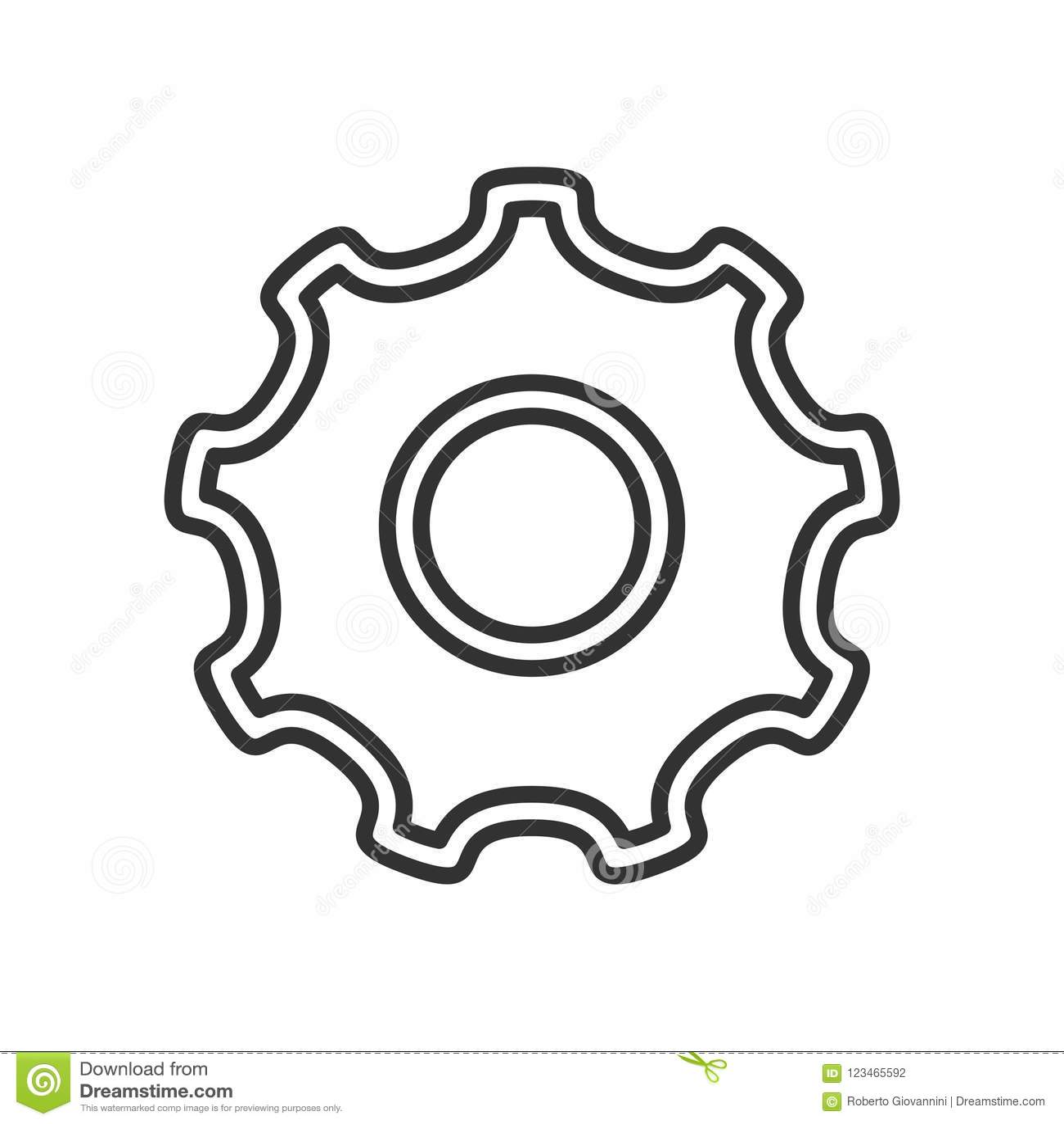 Ícone liso do esboço da roda de engrenagem da ferramenta no branco