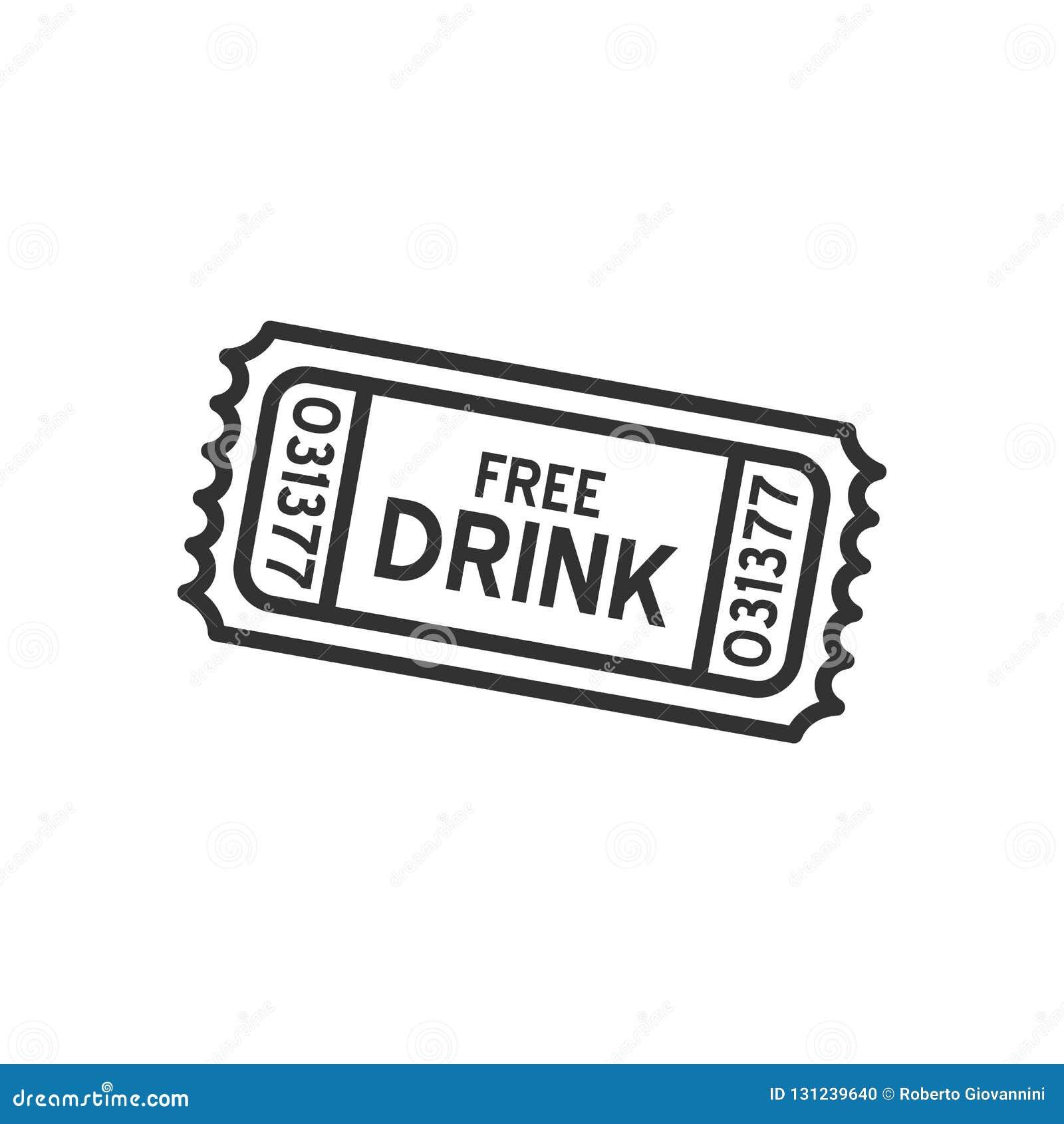 Ícone liso do esboço livre do bilhete da bebida no branco
