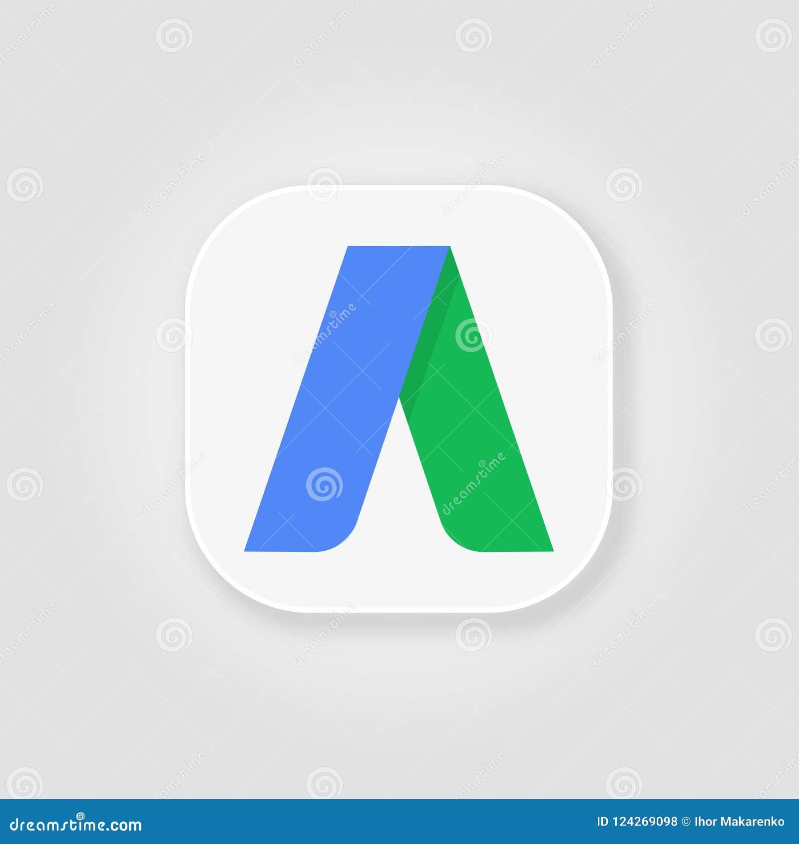 Ícone liso do logotipo de Adwords em um fundo cinzento