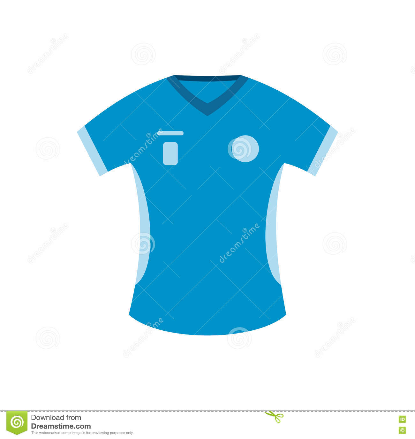 Ícone liso do t-shirt azul do basebol