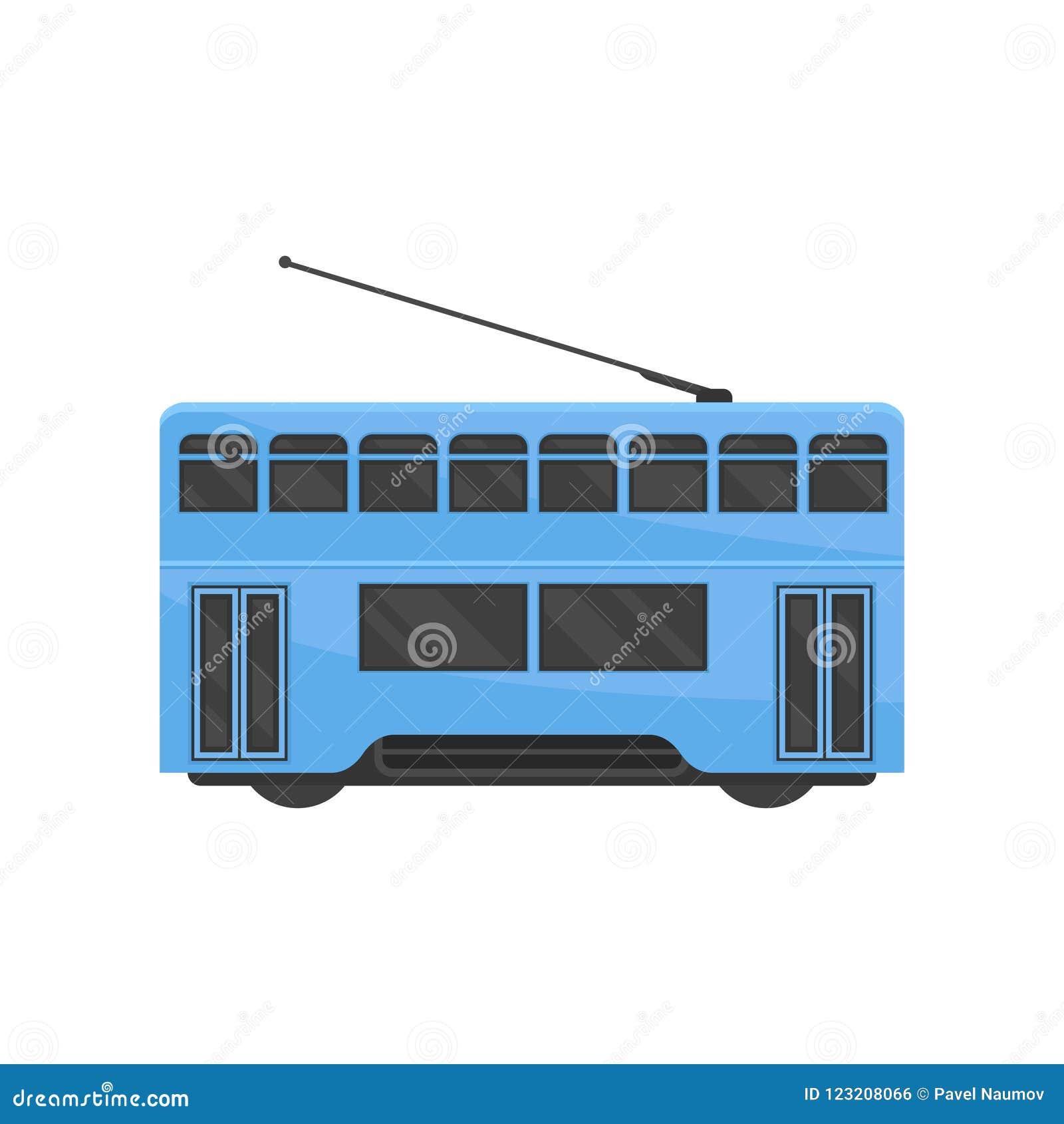 Ícone liso do vetor do bonde azul de Hong Kong Transporte público do chinês Bonde-trem urbano Veículo de trilho moderno