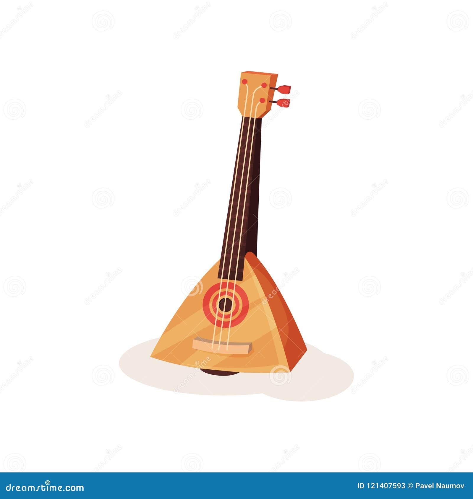 Ícone liso do vetor da balalaica marrom O russo amarrou o instrumento musical com corpo de madeira triangular e três cordas
