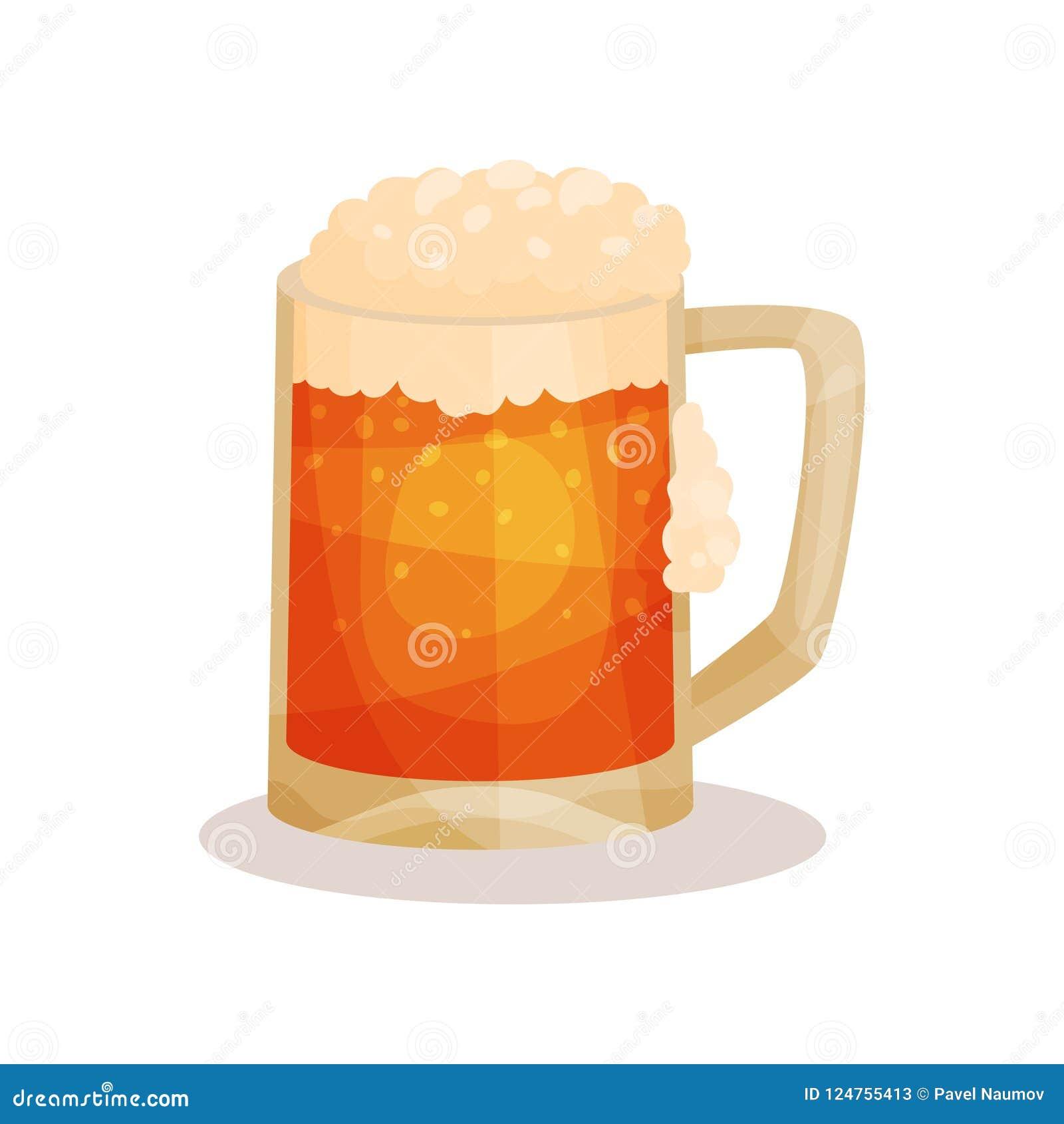 Ícone liso do vetor da cerveja de esboço com espuma Bebida alcoólica na caneca de vidro com punho Elemento para anunciar o cartaz