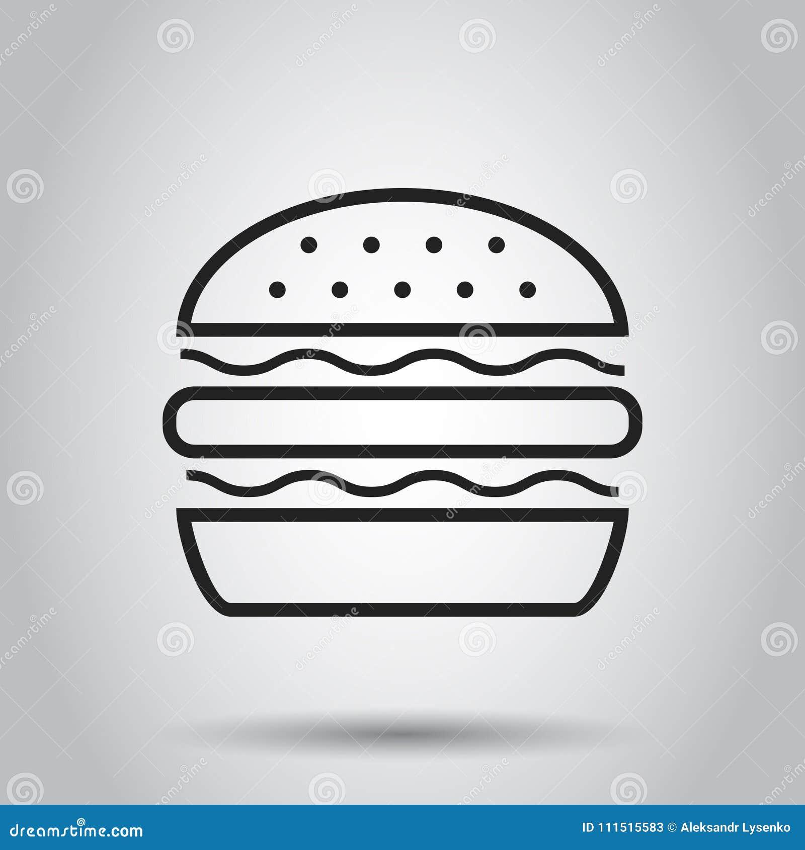 Ícone liso do vetor do fast food do hamburguer Illustr do logotipo do símbolo do Hamburger