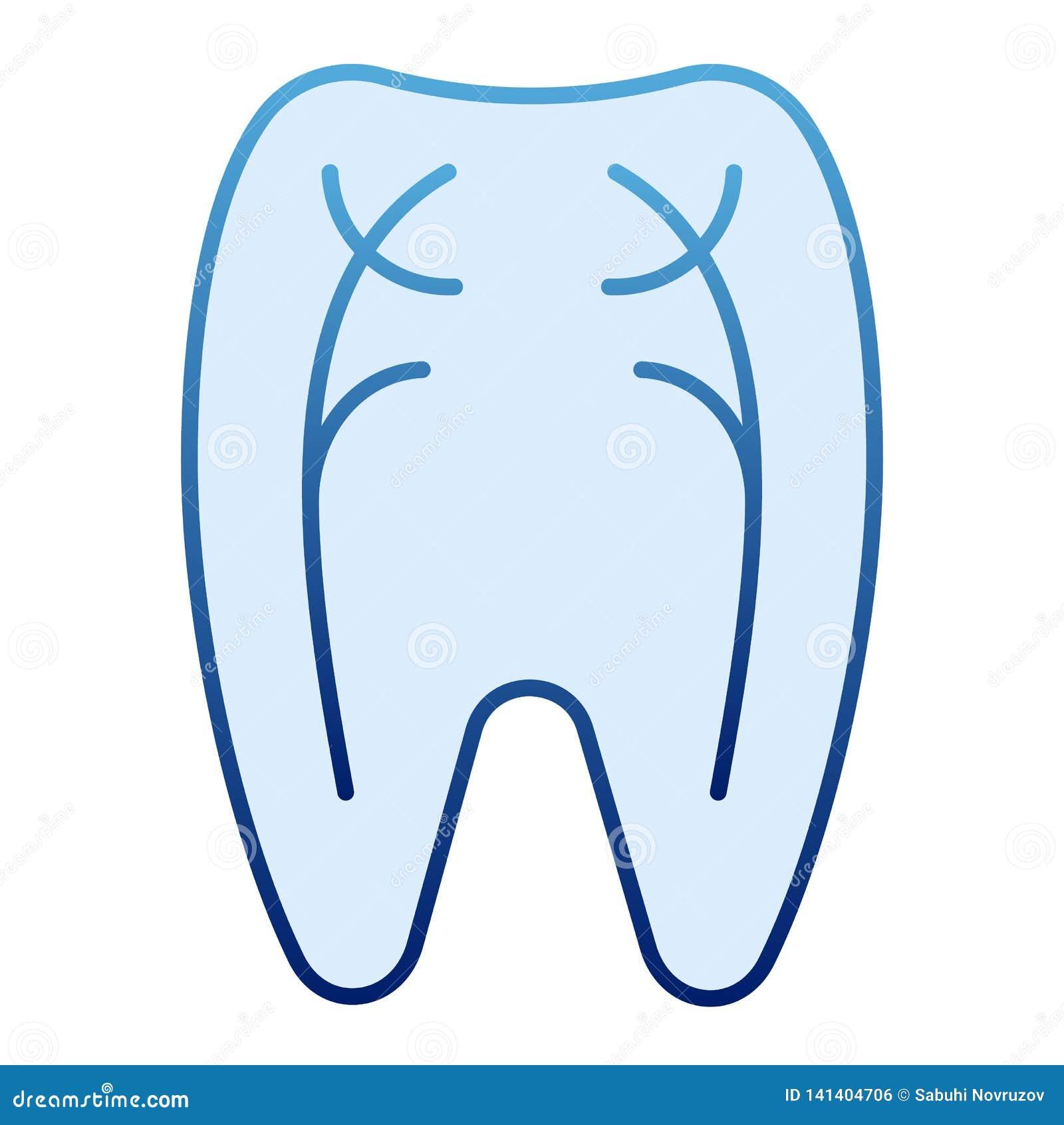 Ícone liso dos nervos do dente Ícones azuis do dentista no estilo liso na moda Projeto peridental do estilo do inclinação, projet