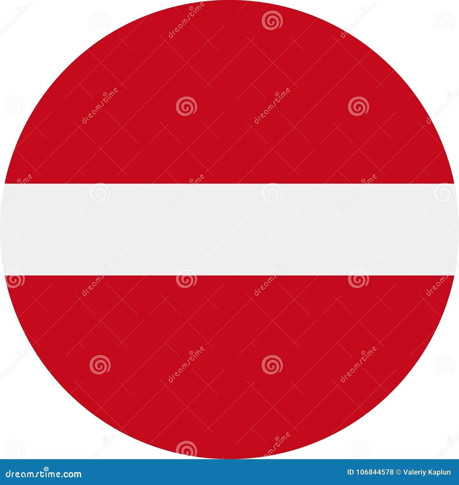 Ícone liso redondo do vetor da bandeira de letónia ilustração stock