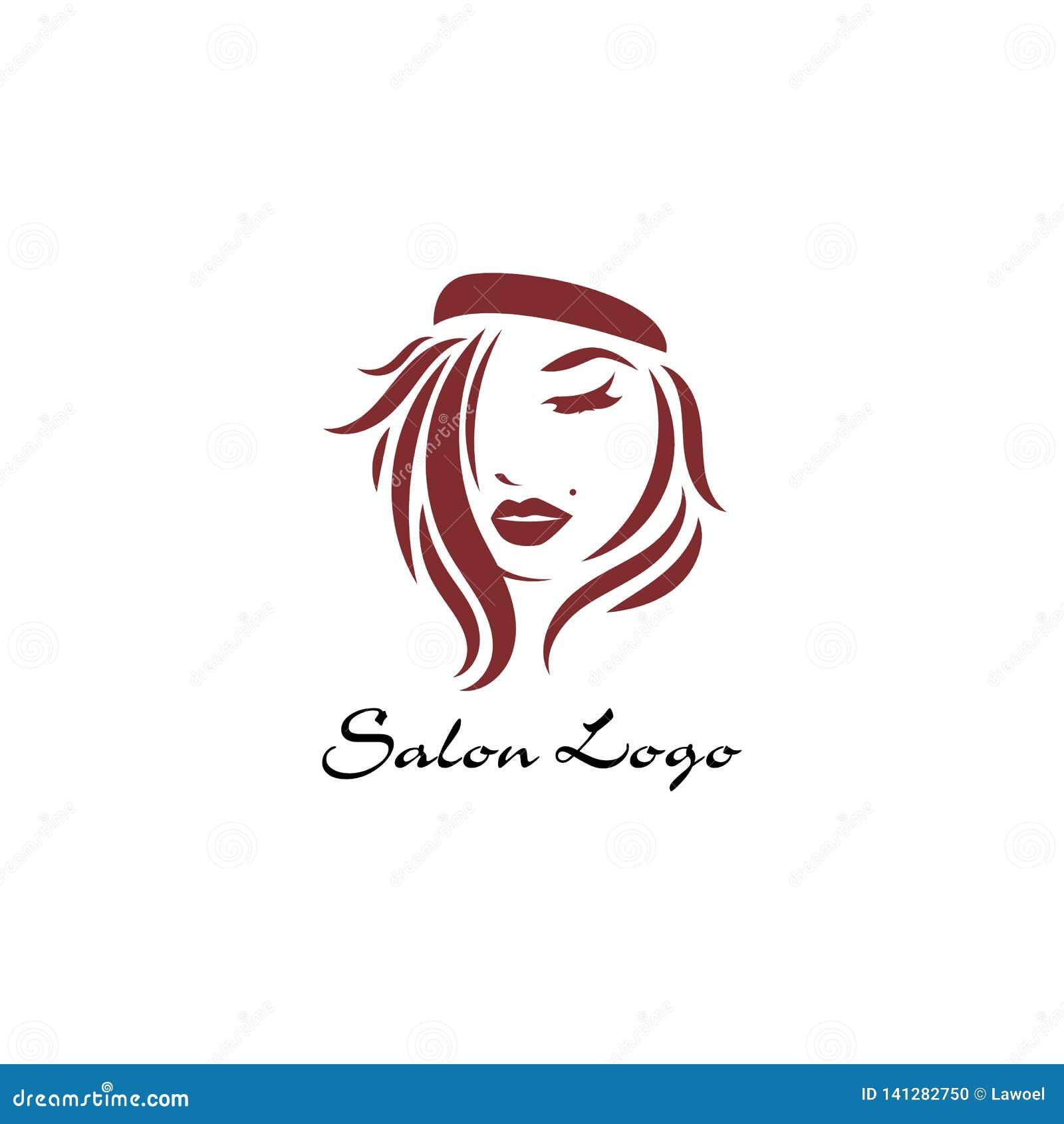 Ícone longo do penteado, cara das mulheres do logotipo no fundo branco, vetor