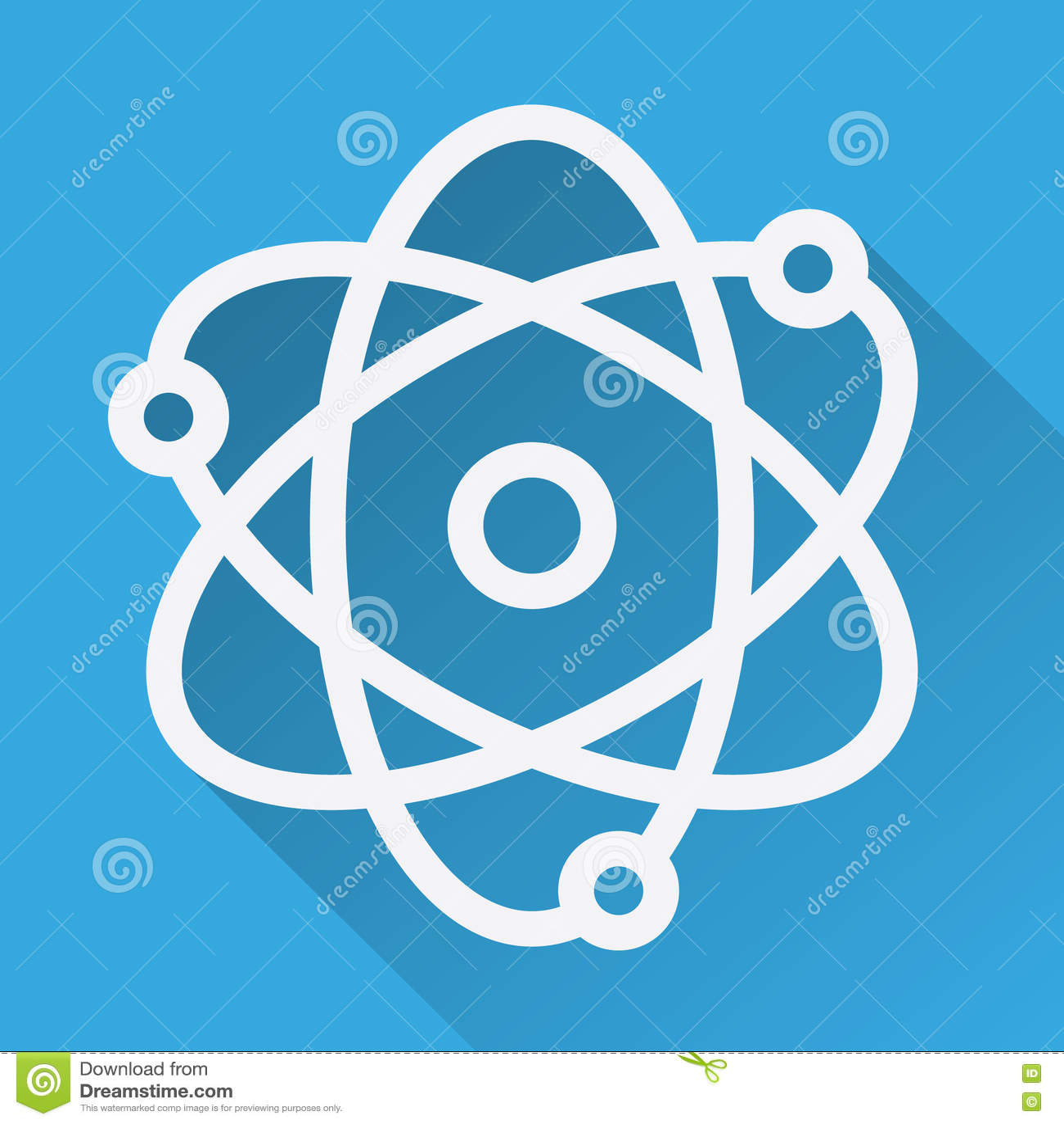 ícone Longo Horizontalmente Linear Da Sombra Do átomo Modelo