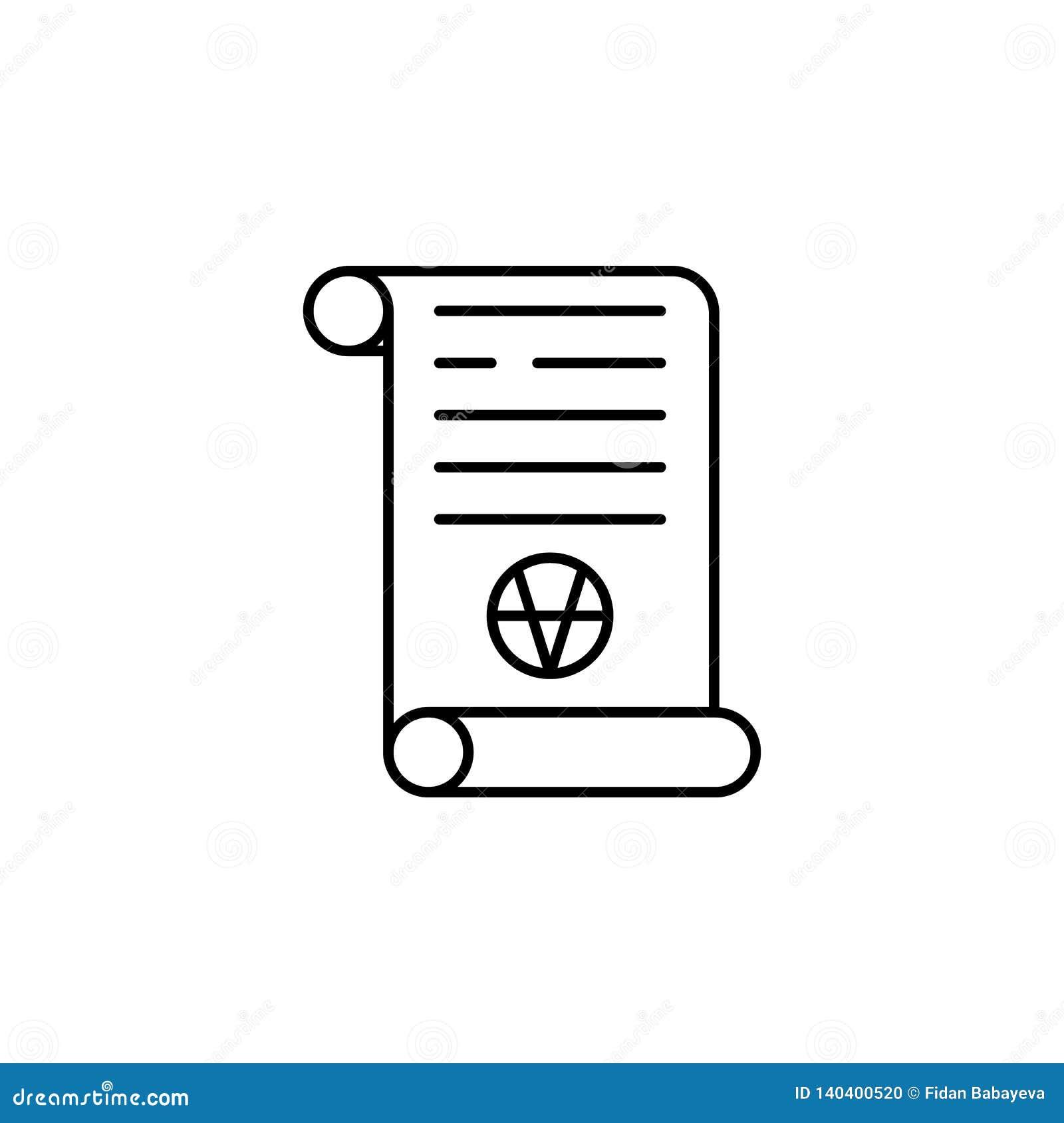 Ícone mágico do esboço do rolo da arte Os sinais e os símbolos podem ser usados para a Web, logotipo, app móvel, UI, UX