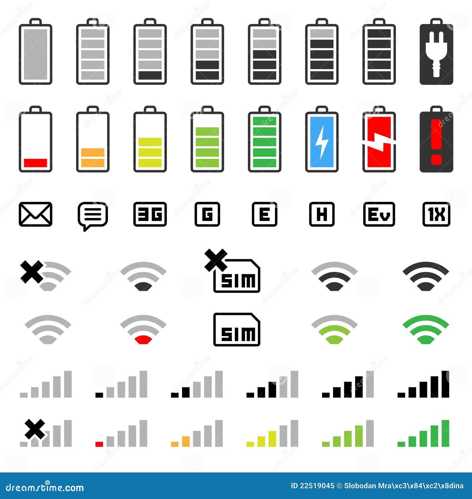 Ícone móvel ajustado - bateria e conexão
