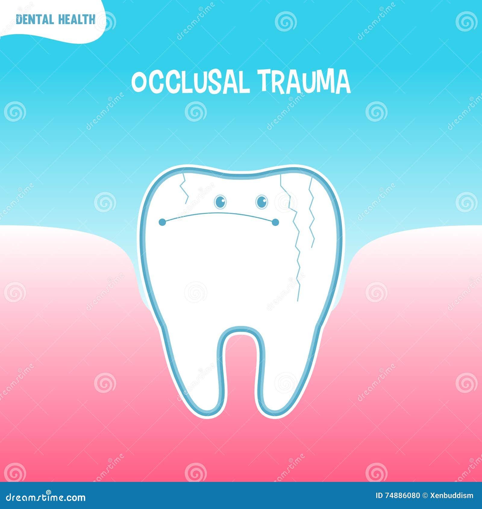 Ícone mau do dente dos desenhos animados com traumatismo occlusal