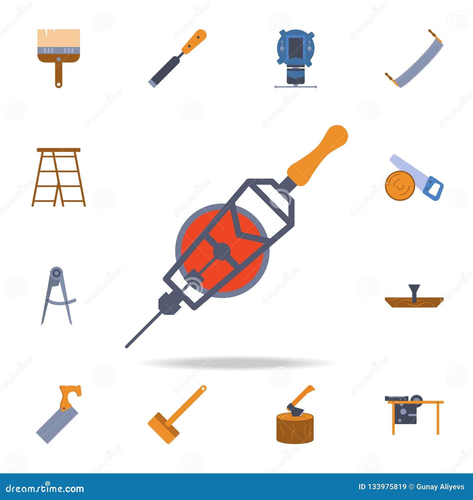 ícone mecânico da broca do manual da cor Grupo detalhado de ferramentas da construção da cor Projeto gráfico superior Um dos ícon