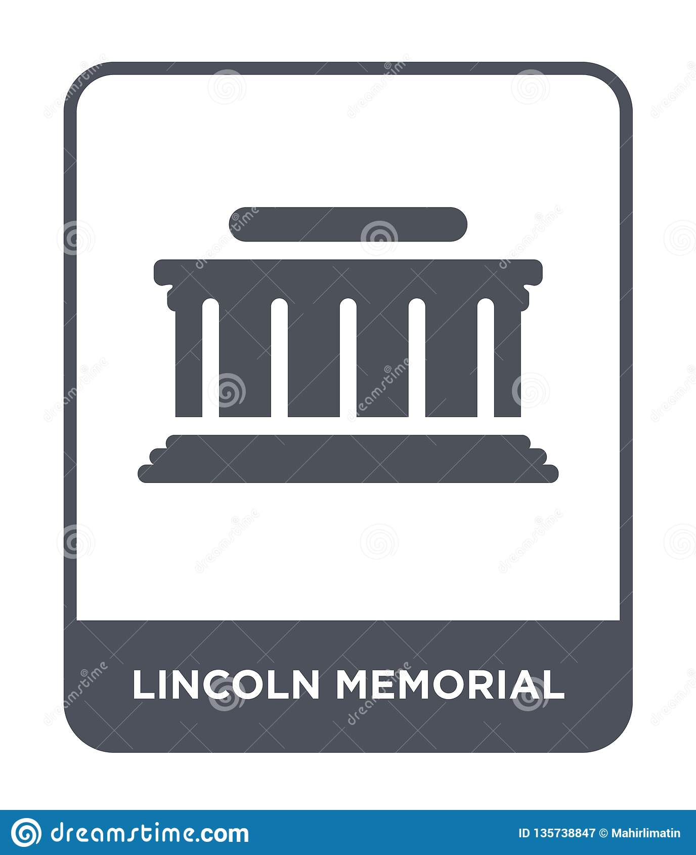 ícone memorável de lincoln no estilo na moda do projeto ícone memorável de lincoln isolado no fundo branco ícone memorável do vet