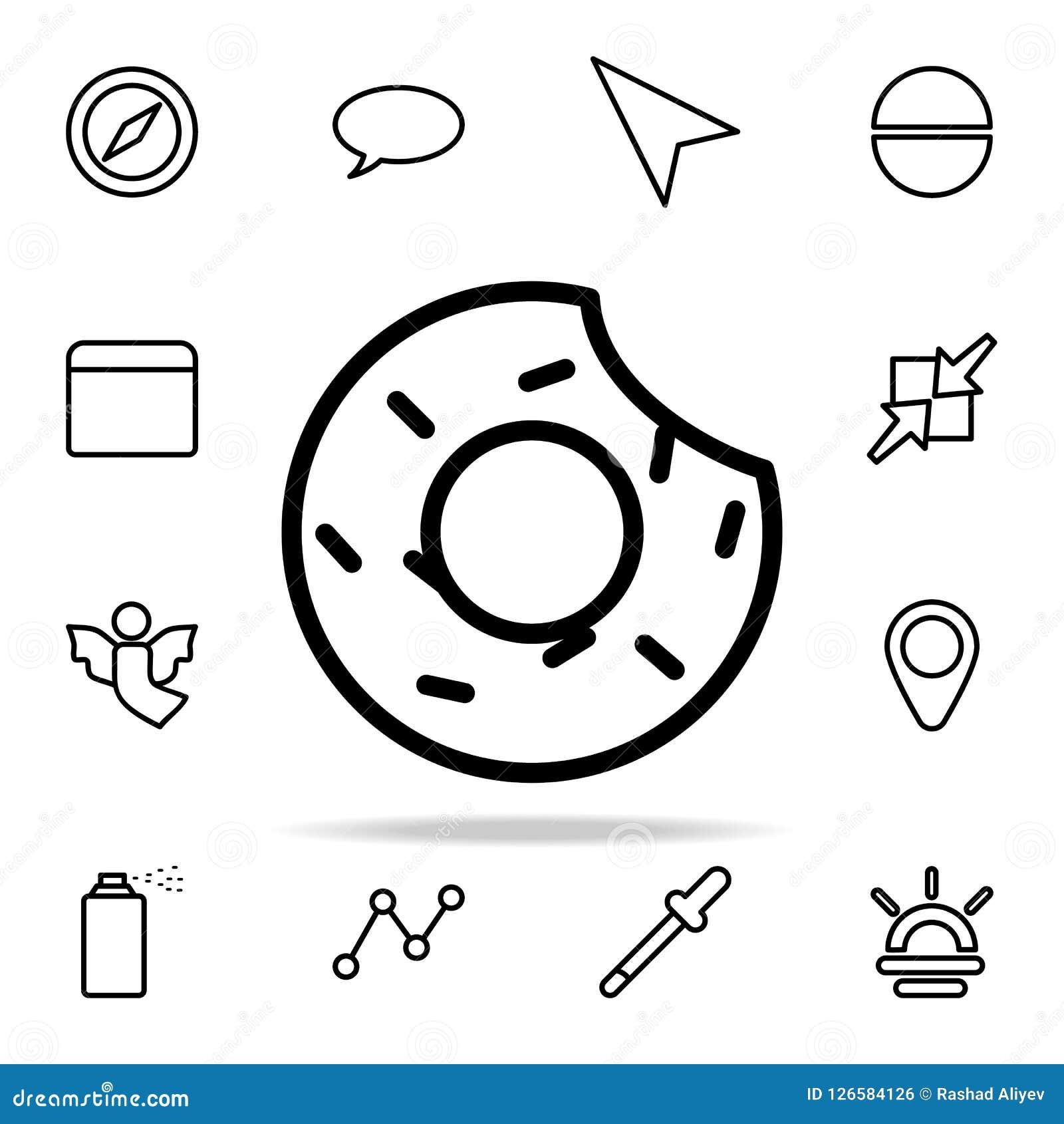 ícone mordido da filhós grupo universal dos ícones da Web para a Web e o móbil