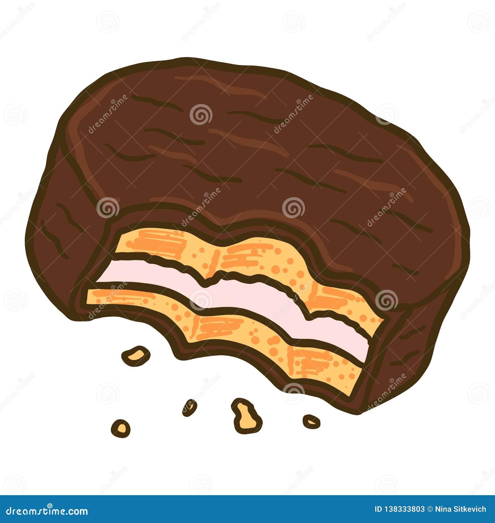 Ícone mordido do biscoito do choco, estilo tirado mão