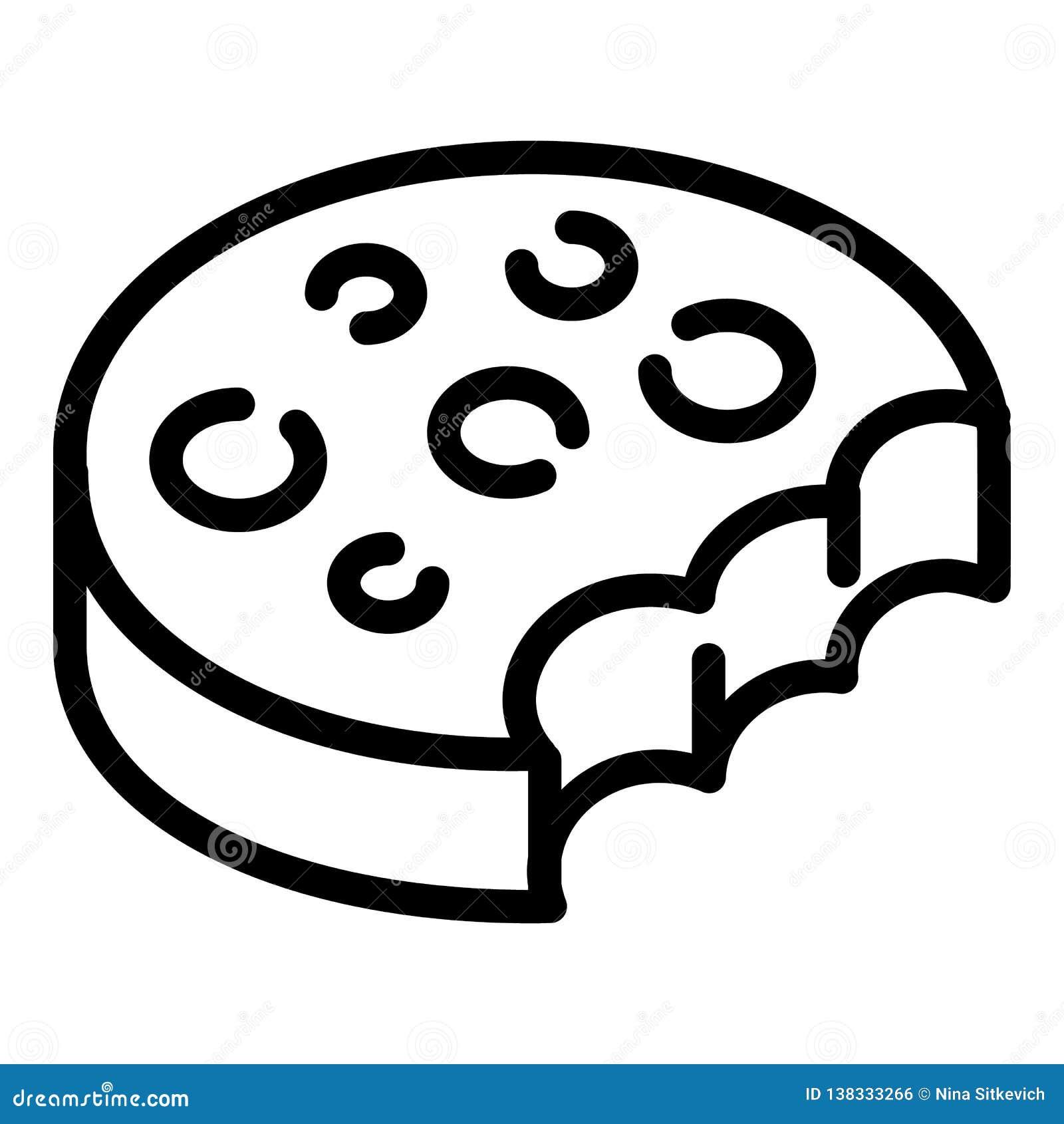 Ícone mordido do biscoito, estilo do esboço
