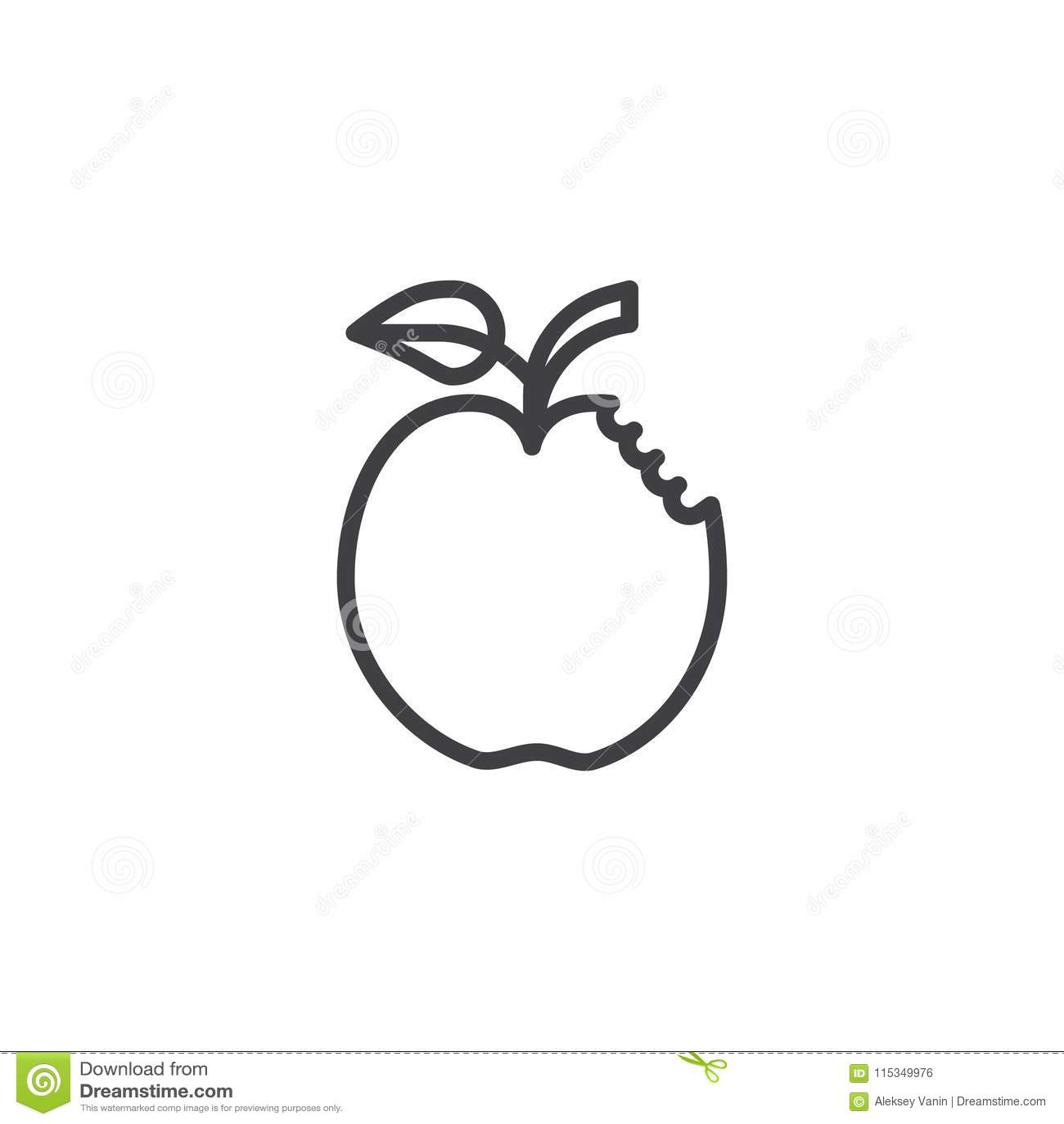 Ícone mordido do esboço da maçã